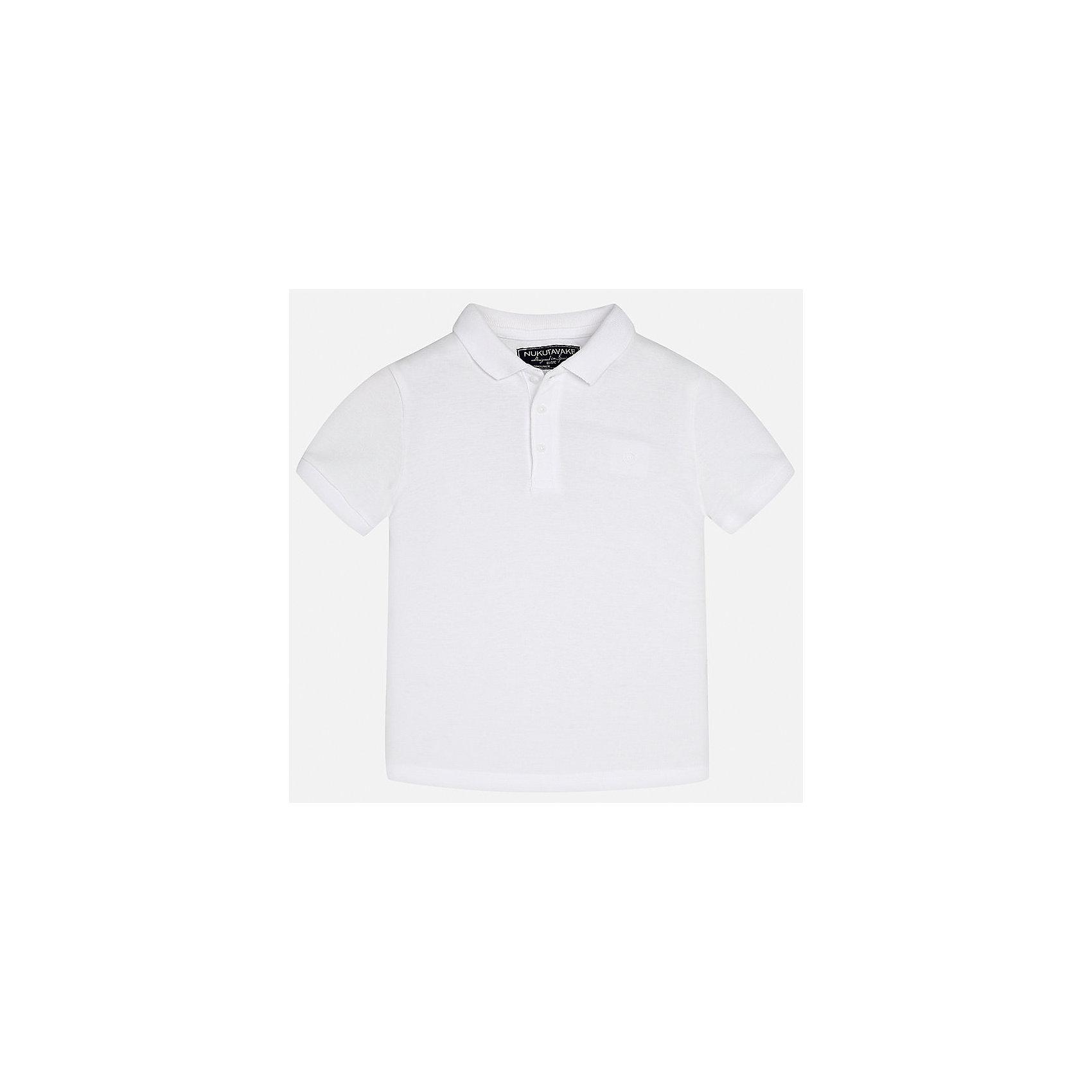Футболка-поло для мальчика MayoralФутболки, поло и топы<br>Характеристики товара:<br><br>• цвет: белый<br>• состав: 100% хлопок<br>• отложной воротник<br>• короткие рукава<br>• застежка: пуговицы<br>• страна бренда: Испания<br><br>Удобная и модная футболка-поло для мальчика может стать базовой вещью в гардеробе ребенка. Она отлично сочетается с брюками, шортами, джинсами и т.д. Универсальный крой и цвет позволяет подобрать к вещи низ разных расцветок. Практичное и стильное изделие! В составе материала - только натуральный хлопок, гипоаллергенный, приятный на ощупь, дышащий.<br><br>Одежда, обувь и аксессуары от испанского бренда Mayoral полюбились детям и взрослым по всему миру. Модели этой марки - стильные и удобные. Для их производства используются только безопасные, качественные материалы и фурнитура. Порадуйте ребенка модными и красивыми вещами от Mayoral! <br><br>Футболку-поло для мальчика от испанского бренда Mayoral (Майорал) можно купить в нашем интернет-магазине.<br><br>Ширина мм: 230<br>Глубина мм: 40<br>Высота мм: 220<br>Вес г: 250<br>Цвет: белый<br>Возраст от месяцев: 96<br>Возраст до месяцев: 108<br>Пол: Мужской<br>Возраст: Детский<br>Размер: 140,170,164,158,152,128/134<br>SKU: 5278349