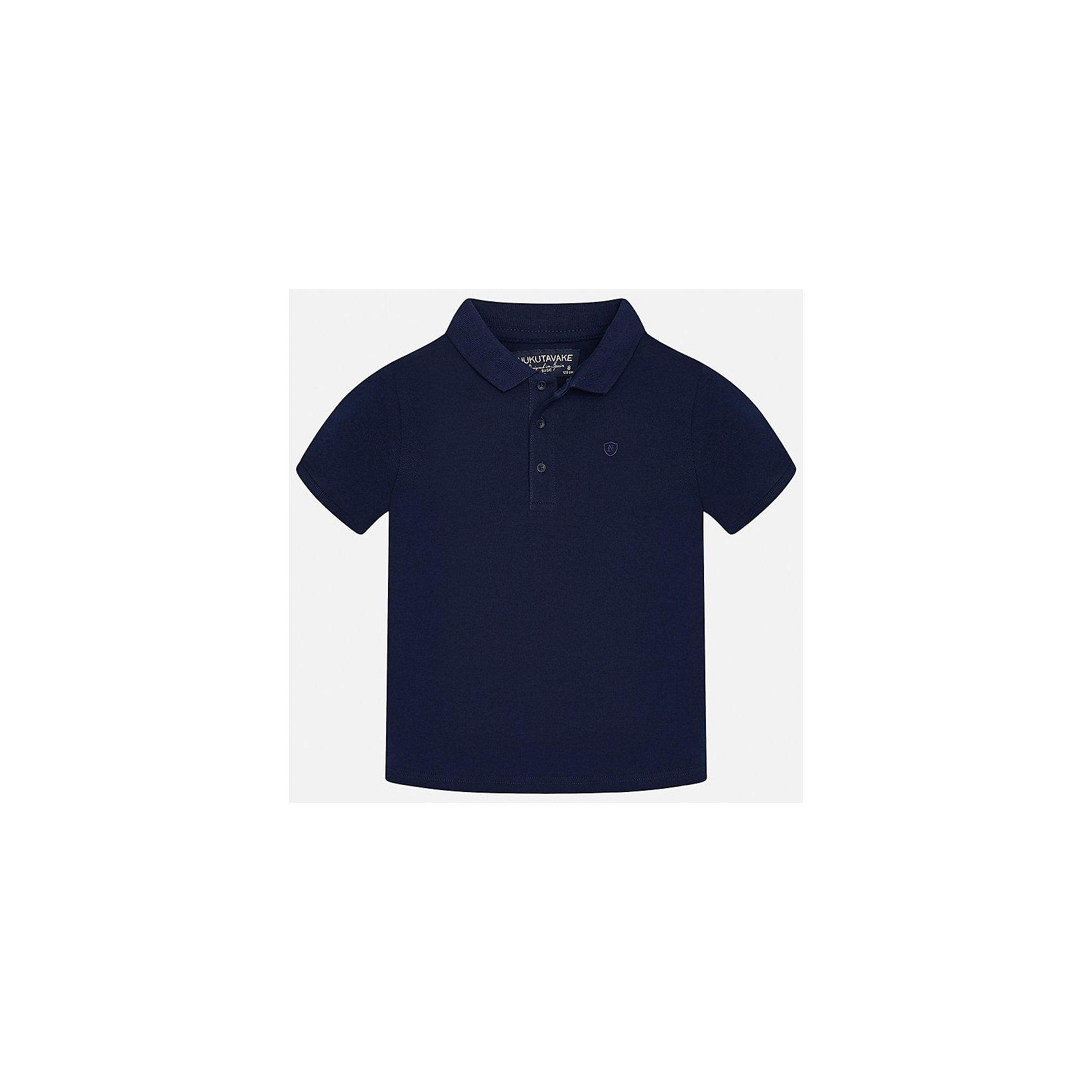 Футболка-поло для мальчика MayoralФутболки, поло и топы<br>Характеристики товара:<br><br>• цвет: темно-синий<br>• состав: 100% хлопок<br>• отложной воротник<br>• короткие рукава<br>• застежка: пуговицы<br>• страна бренда: Испания<br><br>Удобная и модная футболка-поло для мальчика может стать базовой вещью в гардеробе ребенка. Она отлично сочетается с брюками, шортами, джинсами и т.д. Универсальный крой и цвет позволяет подобрать к вещи низ разных расцветок. Практичное и стильное изделие! В составе материала - только натуральный хлопок, гипоаллергенный, приятный на ощупь, дышащий.<br><br>Одежда, обувь и аксессуары от испанского бренда Mayoral полюбились детям и взрослым по всему миру. Модели этой марки - стильные и удобные. Для их производства используются только безопасные, качественные материалы и фурнитура. Порадуйте ребенка модными и красивыми вещами от Mayoral! <br><br>Футболку-поло для мальчика от испанского бренда Mayoral (Майорал) можно купить в нашем интернет-магазине.<br><br>Ширина мм: 230<br>Глубина мм: 40<br>Высота мм: 220<br>Вес г: 250<br>Цвет: синий<br>Возраст от месяцев: 84<br>Возраст до месяцев: 96<br>Пол: Мужской<br>Возраст: Детский<br>Размер: 128/134,170,164,158,152,140<br>SKU: 5278370