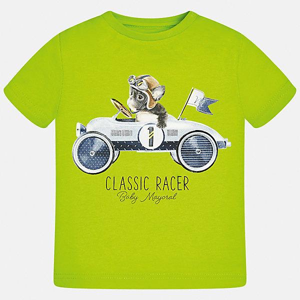 Футболка для мальчика MayoralФутболки, топы<br>Характеристики товара:<br><br>• цвет: зеленый<br>• состав: 100% хлопок<br>• круглый горловой вырез<br>• декорирована принтом<br>• короткие рукава<br>• мягкая отделка горловины<br>• страна бренда: Испания<br><br>Стильная удобная футболка с принтом поможет разнообразить гардероб мальчика. Она отлично сочетается с брюками, шортами, джинсами. Хорошо смотрится и комфортно сидит на детях. В составе материала - натуральный хлопок, гипоаллергенный, приятный на ощупь, дышащий. <br><br>Футболку для мальчика от испанского бренда Mayoral (Майорал) можно купить в нашем интернет-магазине.<br><br>Ширина мм: 199<br>Глубина мм: 10<br>Высота мм: 161<br>Вес г: 151<br>Цвет: зеленый<br>Возраст от месяцев: 18<br>Возраст до месяцев: 24<br>Пол: Мужской<br>Возраст: Детский<br>Размер: 86,92,80,74<br>SKU: 5278382