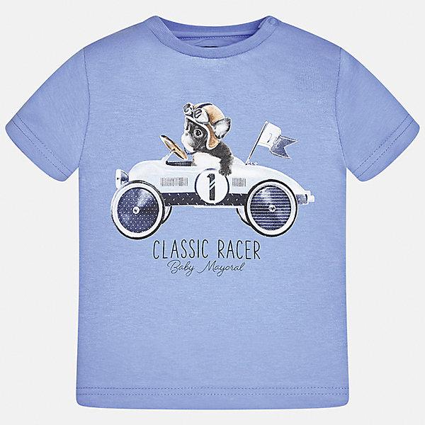 Футболка для мальчика MayoralФутболки, топы<br>Характеристики товара:<br><br>• цвет: голубой<br>• состав: 100% хлопок<br>• круглый горловой вырез<br>• декорирована принтом<br>• короткие рукава<br>• мягкая отделка горловины<br>• страна бренда: Испания<br><br>Стильная удобная футболка с принтом поможет разнообразить гардероб мальчика. Она отлично сочетается с брюками, шортами, джинсами. Практичное и стильное изделие! Хорошо смотрится и комфортно сидит на детях. В составе материала - натуральный хлопок, гипоаллергенный, приятный на ощупь, дышащий. <br><br>Футболку для мальчика от испанского бренда Mayoral (Майорал) можно купить в нашем интернет-магазине.<br><br>Ширина мм: 199<br>Глубина мм: 10<br>Высота мм: 161<br>Вес г: 151<br>Цвет: белый<br>Возраст от месяцев: 6<br>Возраст до месяцев: 9<br>Пол: Мужской<br>Возраст: Детский<br>Размер: 74,86,80,92<br>SKU: 5278387