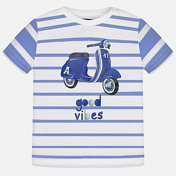 Футболка для мальчика MayoralФутболки, топы<br>Характеристики товара:<br><br>• цвет: белый/синий<br>• состав: 100% хлопок<br>• круглый горловой вырез<br>• декорирована принтом<br>• короткие рукава<br>• мягкая отделка горловины<br>• страна бренда: Испания<br><br>Стильная удобная футболка с принтом поможет разнообразить гардероб мальчика. Она отлично сочетается с брюками, шортами, джинсами. Универсальный крой и цвет позволяет подобрать к вещи низ разных расцветок. Практичное и стильное изделие! Хорошо смотрится и комфортно сидит на детях. В составе материала - натуральный хлопок, гипоаллергенный, приятный на ощупь, дышащий. <br><br>Одежда, обувь и аксессуары от испанского бренда Mayoral полюбились детям и взрослым по всему миру. Модели этой марки - стильные и удобные. Для их производства используются только безопасные, качественные материалы и фурнитура. Порадуйте ребенка модными и красивыми вещами от Mayoral! <br><br>Футболку для мальчика от испанского бренда Mayoral (Майорал) можно купить в нашем интернет-магазине.<br>Ширина мм: 199; Глубина мм: 10; Высота мм: 161; Вес г: 151; Цвет: белый; Возраст от месяцев: 12; Возраст до месяцев: 15; Пол: Мужской; Возраст: Детский; Размер: 80,92,86; SKU: 5278401;
