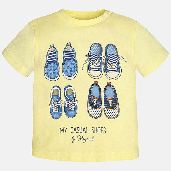 Футболка для мальчика MayoralФутболки, топы<br>Характеристики товара:<br><br>• цвет: желтый<br>• состав: 100% хлопок<br>• круглый горловой вырез<br>• декорирована принтом<br>• короткие рукава<br>• мягкая отделка горловины<br>• страна бренда: Испания<br><br>Стильная удобная футболка с принтом поможет разнообразить гардероб мальчика. Она отлично сочетается с брюками, шортами, джинсами. Универсальный крой и цвет позволяет подобрать к вещи низ разных расцветок. Практичное и стильное изделие! Хорошо смотрится и комфортно сидит на детях. В составе материала - натуральный хлопок, гипоаллергенный, приятный на ощупь, дышащий. <br><br>Одежда, обувь и аксессуары от испанского бренда Mayoral полюбились детям и взрослым по всему миру. Модели этой марки - стильные и удобные. Для их производства используются только безопасные, качественные материалы и фурнитура. Порадуйте ребенка модными и красивыми вещами от Mayoral! <br><br>Футболку для мальчика от испанского бренда Mayoral (Майорал) можно купить в нашем интернет-магазине.<br><br>Ширина мм: 199<br>Глубина мм: 10<br>Высота мм: 161<br>Вес г: 151<br>Цвет: оранжевый<br>Возраст от месяцев: 18<br>Возраст до месяцев: 24<br>Пол: Мужской<br>Возраст: Детский<br>Размер: 92,80,86<br>SKU: 5278405