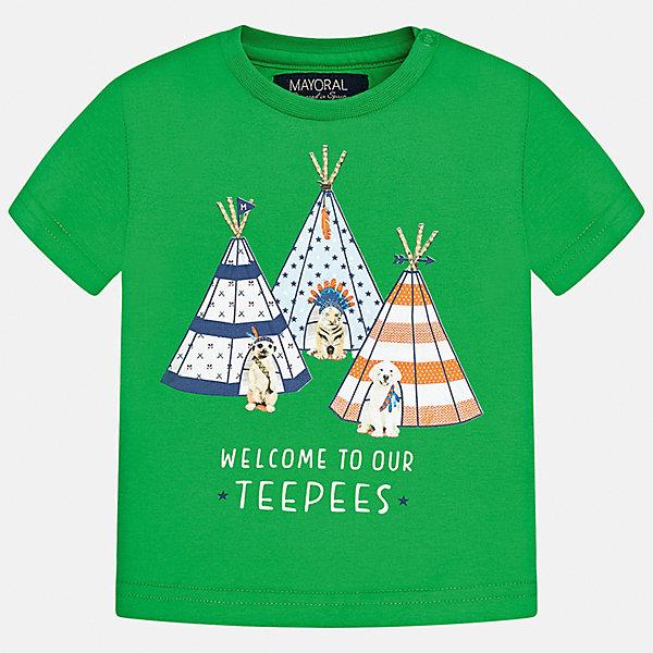 Футболка для мальчика MayoralФутболки, поло и топы<br>Характеристики товара:<br><br>• цвет: зелёный<br>• состав: 100% хлопок<br>• круглый горловой вырез<br>• декорирована принтом<br>• короткие рукава<br>• мягкая отделка горловины<br>• страна бренда: Испания<br><br>Стильная удобная футболка с принтом поможет разнообразить гардероб мальчика. Она отлично сочетается с брюками, шортами, джинсами.  В составе материала - натуральный хлопок, гипоаллергенный, приятный на ощупь, дышащий. <br><br>Футболку для мальчика от испанского бренда Mayoral (Майорал) можно купить в нашем интернет-магазине.<br>Ширина мм: 199; Глубина мм: 10; Высота мм: 161; Вес г: 151; Цвет: зеленый; Возраст от месяцев: 12; Возраст до месяцев: 18; Пол: Мужской; Возраст: Детский; Размер: 86,92,80; SKU: 5278417;
