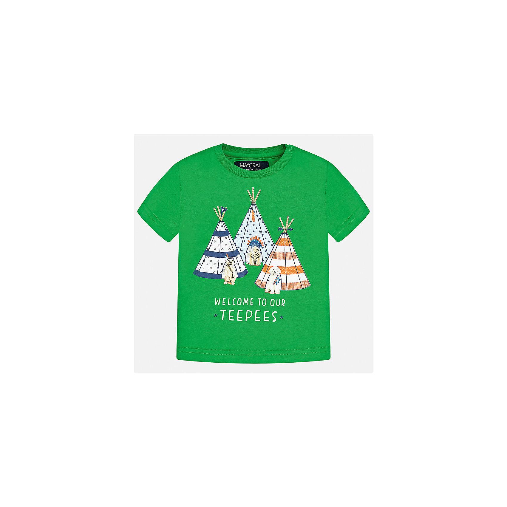 Футболка для мальчика MayoralФутболки, топы<br>Характеристики товара:<br><br>• цвет: зелёный<br>• состав: 100% хлопок<br>• круглый горловой вырез<br>• декорирована принтом<br>• короткие рукава<br>• мягкая отделка горловины<br>• страна бренда: Испания<br><br>Стильная удобная футболка с принтом поможет разнообразить гардероб мальчика. Она отлично сочетается с брюками, шортами, джинсами.  В составе материала - натуральный хлопок, гипоаллергенный, приятный на ощупь, дышащий. <br><br>Футболку для мальчика от испанского бренда Mayoral (Майорал) можно купить в нашем интернет-магазине.<br><br>Ширина мм: 199<br>Глубина мм: 10<br>Высота мм: 161<br>Вес г: 151<br>Цвет: зеленый<br>Возраст от месяцев: 18<br>Возраст до месяцев: 24<br>Пол: Мужской<br>Возраст: Детский<br>Размер: 92,80,86<br>SKU: 5278417