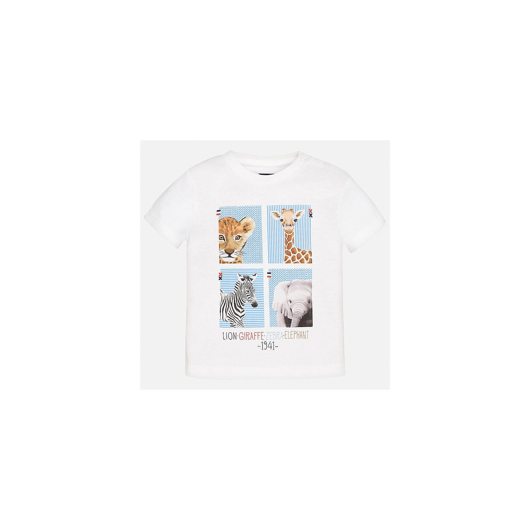 Футболка для мальчика MayoralФутболки, топы<br>Характеристики товара:<br><br>• цвет: белый<br>• состав: 100% хлопок<br>• круглый горловой вырез<br>• декорирована принтом<br>• короткие рукава<br>• мягкая отделка горловины<br>• страна бренда: Испания<br><br>Стильная удобная футболка с принтом поможет разнообразить гардероб мальчика. Она отлично сочетается с брюками, шортами, джинсами. Универсальный крой и цвет позволяет подобрать к вещи низ разных расцветок. Практичное и стильное изделие! Хорошо смотрится и комфортно сидит на детях. В составе материала - натуральный хлопок, гипоаллергенный, приятный на ощупь, дышащий. <br><br>Одежда, обувь и аксессуары от испанского бренда Mayoral полюбились детям и взрослым по всему миру. Модели этой марки - стильные и удобные. Для их производства используются только безопасные, качественные материалы и фурнитура. Порадуйте ребенка модными и красивыми вещами от Mayoral! <br><br>Футболку для мальчика от испанского бренда Mayoral (Майорал) можно купить в нашем интернет-магазине.<br><br>Ширина мм: 199<br>Глубина мм: 10<br>Высота мм: 161<br>Вес г: 151<br>Цвет: белый<br>Возраст от месяцев: 12<br>Возраст до месяцев: 15<br>Пол: Мужской<br>Возраст: Детский<br>Размер: 80,92,86<br>SKU: 5278425