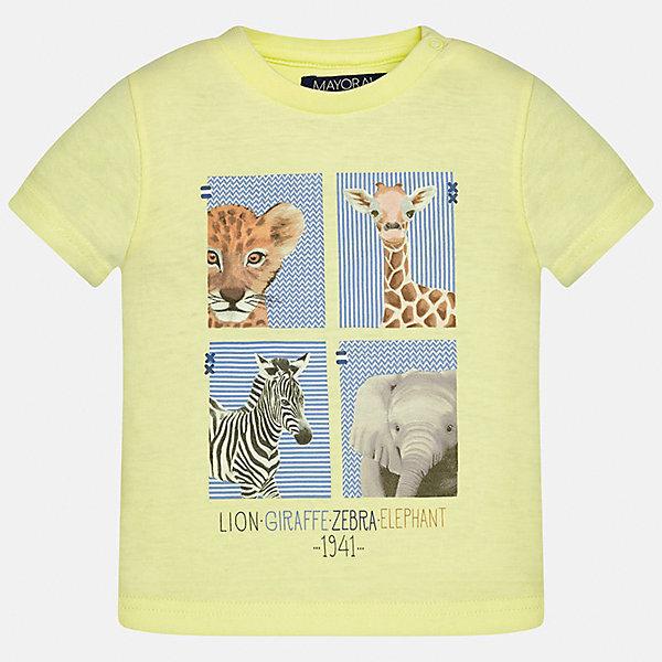 Футболка для мальчика MayoralФутболки, топы<br>Характеристики товара:<br><br>• цвет: желтый<br>• состав: 100% хлопок<br>• круглый горловой вырез<br>• декорирована принтом<br>• короткие рукава<br>• мягкая отделка горловины<br>• страна бренда: Испания<br><br>Стильная удобная футболка с принтом поможет разнообразить гардероб мальчика. Она отлично сочетается с брюками, шортами, джинсами. Универсальный крой и цвет позволяет подобрать к вещи низ разных расцветок. Практичное и стильное изделие! Хорошо смотрится и комфортно сидит на детях. В составе материала - натуральный хлопок, гипоаллергенный, приятный на ощупь, дышащий. <br><br>Одежда, обувь и аксессуары от испанского бренда Mayoral полюбились детям и взрослым по всему миру. Модели этой марки - стильные и удобные. Для их производства используются только безопасные, качественные материалы и фурнитура. Порадуйте ребенка модными и красивыми вещами от Mayoral! <br><br>Футболку для мальчика от испанского бренда Mayoral (Майорал) можно купить в нашем интернет-магазине.<br><br>Ширина мм: 199<br>Глубина мм: 10<br>Высота мм: 161<br>Вес г: 151<br>Цвет: оранжевый<br>Возраст от месяцев: 12<br>Возраст до месяцев: 15<br>Пол: Мужской<br>Возраст: Детский<br>Размер: 80,92,86<br>SKU: 5278429