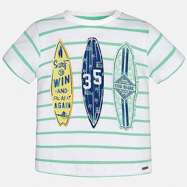 Футболка для мальчика MayoralФутболки, топы<br>Характеристики товара:<br><br>• цвет: белый/зеленый<br>• состав: 100% хлопок<br>• круглый горловой вырез<br>• декорирована принтом<br>• короткие рукава<br>• мягкая отделка горловины<br>• страна бренда: Испания<br><br>Стильная удобная футболка с принтом поможет разнообразить гардероб мальчика. Она отлично сочетается с брюками, шортами, джинсами. Универсальный крой и цвет позволяет подобрать к вещи низ разных расцветок. Практичное и стильное изделие! Хорошо смотрится и комфортно сидит на детях. В составе материала - натуральный хлопок, гипоаллергенный, приятный на ощупь, дышащий. <br><br>Одежда, обувь и аксессуары от испанского бренда Mayoral полюбились детям и взрослым по всему миру. Модели этой марки - стильные и удобные. Для их производства используются только безопасные, качественные материалы и фурнитура. Порадуйте ребенка модными и красивыми вещами от Mayoral! <br><br>Футболку для мальчика от испанского бренда Mayoral (Майорал) можно купить в нашем интернет-магазине.<br>Ширина мм: 199; Глубина мм: 10; Высота мм: 161; Вес г: 151; Цвет: зеленый; Возраст от месяцев: 12; Возраст до месяцев: 15; Пол: Мужской; Возраст: Детский; Размер: 80,92,86; SKU: 5278437;
