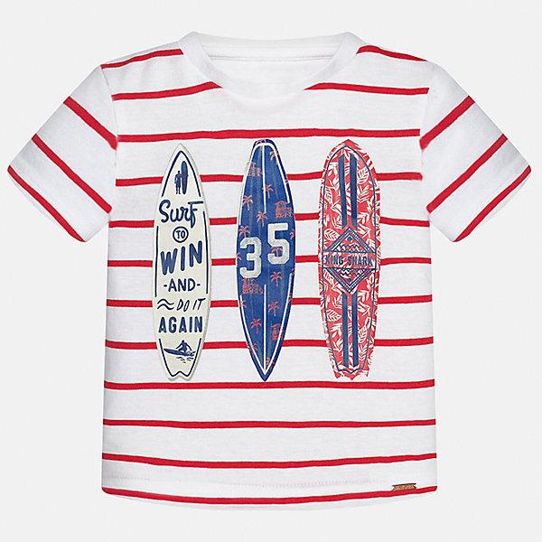 Футболка для мальчика MayoralФутболки, топы<br>Характеристики товара:<br><br>• цвет: белый/красный<br>• состав: 100% хлопок<br>• круглый горловой вырез<br>• декорирована принтом<br>• короткие рукава<br>• мягкая отделка горловины<br>• страна бренда: Испания<br><br>Стильная удобная футболка с принтом поможет разнообразить гардероб мальчика. Она отлично сочетается с брюками, шортами, джинсами. Универсальный крой и цвет позволяет подобрать к вещи низ разных расцветок. Практичное и стильное изделие! Хорошо смотрится и комфортно сидит на детях. В составе материала - натуральный хлопок, гипоаллергенный, приятный на ощупь, дышащий. <br><br>Одежда, обувь и аксессуары от испанского бренда Mayoral полюбились детям и взрослым по всему миру. Модели этой марки - стильные и удобные. Для их производства используются только безопасные, качественные материалы и фурнитура. Порадуйте ребенка модными и красивыми вещами от Mayoral! <br><br>Футболку для мальчика от испанского бренда Mayoral (Майорал) можно купить в нашем интернет-магазине.<br><br>Ширина мм: 199<br>Глубина мм: 10<br>Высота мм: 161<br>Вес г: 151<br>Цвет: красный<br>Возраст от месяцев: 18<br>Возраст до месяцев: 24<br>Пол: Мужской<br>Возраст: Детский<br>Размер: 92,80,86<br>SKU: 5278441