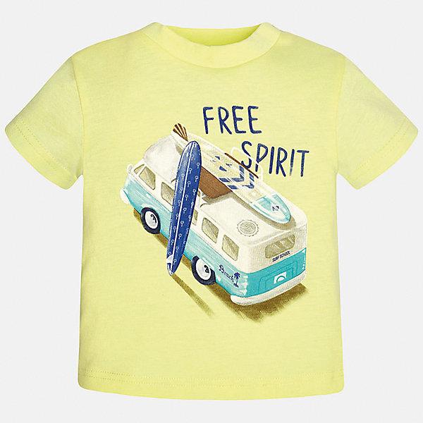 Футболка для мальчика MayoralФутболки, поло и топы<br>Характеристики товара:<br><br>• цвет: желтый<br>• состав: 100% хлопок<br>• круглый горловой вырез<br>• декорирована принтом<br>• короткие рукава<br>• мягкая отделка горловины<br>• страна бренда: Испания<br><br>Стильная удобная футболка с принтом поможет разнообразить гардероб мальчика. Она отлично сочетается с брюками, шортами, джинсами. Универсальный крой и цвет позволяет подобрать к вещи низ разных расцветок. Практичное и стильное изделие! Хорошо смотрится и комфортно сидит на детях. В составе материала - натуральный хлопок, гипоаллергенный, приятный на ощупь, дышащий. <br><br>Одежда, обувь и аксессуары от испанского бренда Mayoral полюбились детям и взрослым по всему миру. Модели этой марки - стильные и удобные. Для их производства используются только безопасные, качественные материалы и фурнитура. Порадуйте ребенка модными и красивыми вещами от Mayoral! <br><br>Футболку для мальчика от испанского бренда Mayoral (Майорал) можно купить в нашем интернет-магазине.<br>Ширина мм: 199; Глубина мм: 10; Высота мм: 161; Вес г: 151; Цвет: оранжевый; Возраст от месяцев: 12; Возраст до месяцев: 15; Пол: Мужской; Возраст: Детский; Размер: 80,86,92; SKU: 5278445;