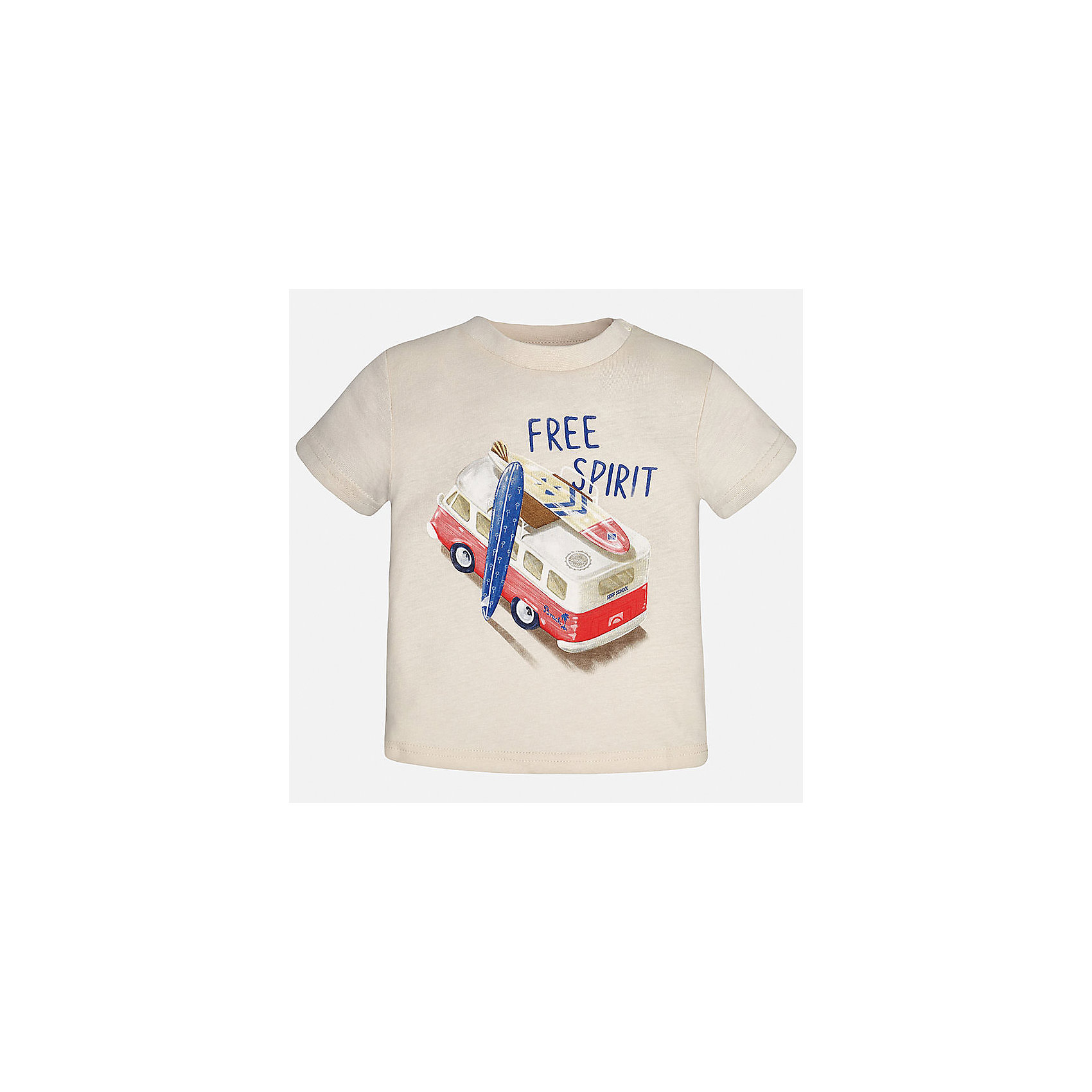 Футболка для мальчика MayoralФутболки, топы<br>Характеристики товара:<br><br>• цвет: бежевый<br>• состав: 100% хлопок<br>• круглый горловой вырез<br>• декорирована принтом<br>• короткие рукава<br>• мягкая отделка горловины<br>• страна бренда: Испания<br><br>Стильная удобная футболка с принтом поможет разнообразить гардероб мальчика. Она отлично сочетается с брюками, шортами, джинсами. Универсальный крой и цвет позволяет подобрать к вещи низ разных расцветок. Практичное и стильное изделие! Хорошо смотрится и комфортно сидит на детях. В составе материала - натуральный хлопок, гипоаллергенный, приятный на ощупь, дышащий. <br><br>Одежда, обувь и аксессуары от испанского бренда Mayoral полюбились детям и взрослым по всему миру. Модели этой марки - стильные и удобные. Для их производства используются только безопасные, качественные материалы и фурнитура. Порадуйте ребенка модными и красивыми вещами от Mayoral! <br><br>Футболку для мальчика от испанского бренда Mayoral (Майорал) можно купить в нашем интернет-магазине.<br><br>Ширина мм: 199<br>Глубина мм: 10<br>Высота мм: 161<br>Вес г: 151<br>Цвет: бежевый<br>Возраст от месяцев: 18<br>Возраст до месяцев: 24<br>Пол: Мужской<br>Возраст: Детский<br>Размер: 92,80,86<br>SKU: 5278449