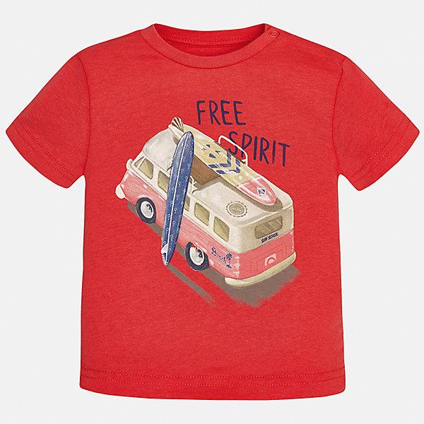 Футболка для мальчика MayoralФутболки, поло и топы<br>Характеристики товара:<br><br>• цвет: красный<br>• состав: 100% хлопок<br>• круглый горловой вырез<br>• декорирована принтом<br>• короткие рукава<br>• мягкая отделка горловины<br>• страна бренда: Испания<br><br>Стильная удобная футболка с принтом поможет разнообразить гардероб мальчика. Она отлично сочетается с брюками, шортами, джинсами. Универсальный крой и цвет позволяет подобрать к вещи низ разных расцветок. Практичное и стильное изделие! Хорошо смотрится и комфортно сидит на детях. В составе материала - натуральный хлопок, гипоаллергенный, приятный на ощупь, дышащий. <br><br>Одежда, обувь и аксессуары от испанского бренда Mayoral полюбились детям и взрослым по всему миру. Модели этой марки - стильные и удобные. Для их производства используются только безопасные, качественные материалы и фурнитура. Порадуйте ребенка модными и красивыми вещами от Mayoral! <br><br>Футболку для мальчика от испанского бренда Mayoral (Майорал) можно купить в нашем интернет-магазине.<br>Ширина мм: 199; Глубина мм: 10; Высота мм: 161; Вес г: 151; Цвет: розовый; Возраст от месяцев: 18; Возраст до месяцев: 24; Пол: Мужской; Возраст: Детский; Размер: 92,80,86; SKU: 5278457;