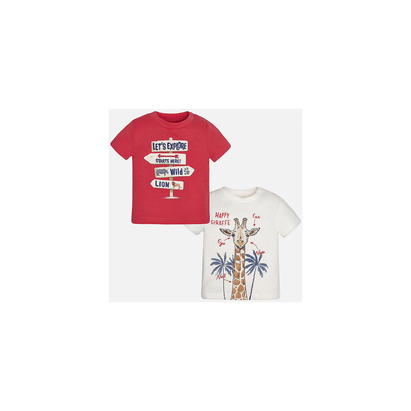 Футболка (2 шт.) для мальчика MayoralХарактеристики товара:<br><br>• цвет: красный/белый<br>• состав: 100% хлопок<br>• комплектация: 2 шт<br>• круглый горловой вырез<br>• декорирована принтом<br>• короткие рукава<br>• мягкая отделка горловины<br>• страна бренда: Испания<br><br>Стильная удобная футболка с принтом поможет разнообразить гардероб мальчика. Она отлично сочетается с брюками, шортами, джинсами. Универсальный крой и цвет позволяет подобрать к вещи низ разных расцветок. Практичное и стильное изделие! Хорошо смотрится и комфортно сидит на детях. В составе материала - натуральный хлопок, гипоаллергенный, приятный на ощупь, дышащий. В этом наборе - сразу две модные футболки разных расцветок!<br><br>Одежда, обувь и аксессуары от испанского бренда Mayoral полюбились детям и взрослым по всему миру. Модели этой марки - стильные и удобные. Для их производства используются только безопасные, качественные материалы и фурнитура. Порадуйте ребенка модными и красивыми вещами от Mayoral! <br><br>Футболку (2 шт.) для мальчика от испанского бренда Mayoral (Майорал) можно купить в нашем интернет-магазине.<br><br>Ширина мм: 199<br>Глубина мм: 10<br>Высота мм: 161<br>Вес г: 151<br>Цвет: красный<br>Возраст от месяцев: 18<br>Возраст до месяцев: 24<br>Пол: Мужской<br>Возраст: Детский<br>Размер: 92,86,80<br>SKU: 5278461