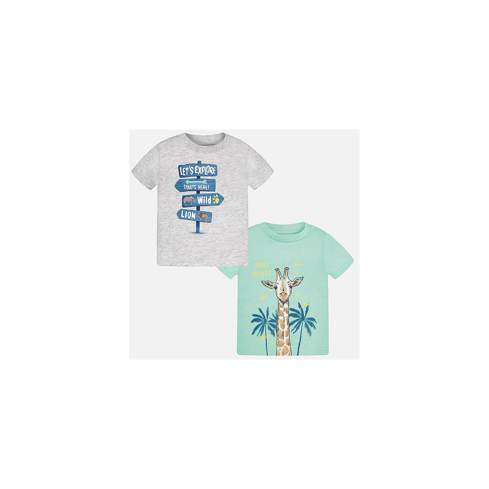 Футболка (2 шт.) для мальчика MayoralХарактеристики товара:<br><br>• цвет: серый/зеленый<br>• состав: 100% хлопок<br>• комплектация: 2 шт<br>• круглый горловой вырез<br>• декорирована принтом<br>• короткие рукава<br>• мягкая отделка горловины<br>• страна бренда: Испания<br><br>Стильная удобная футболка с принтом поможет разнообразить гардероб мальчика. Она отлично сочетается с брюками, шортами, джинсами. Универсальный крой и цвет позволяет подобрать к вещи низ разных расцветок. Практичное и стильное изделие! Хорошо смотрится и комфортно сидит на детях. В составе материала - натуральный хлопок, гипоаллергенный, приятный на ощупь, дышащий. В этом наборе - сразу две модные футболки разных расцветок!<br><br>Одежда, обувь и аксессуары от испанского бренда Mayoral полюбились детям и взрослым по всему миру. Модели этой марки - стильные и удобные. Для их производства используются только безопасные, качественные материалы и фурнитура. Порадуйте ребенка модными и красивыми вещами от Mayoral! <br><br>Футболку (2 шт.) для мальчика от испанского бренда Mayoral (Майорал) можно купить в нашем интернет-магазине.<br><br>Ширина мм: 199<br>Глубина мм: 10<br>Высота мм: 161<br>Вес г: 151<br>Цвет: белый<br>Возраст от месяцев: 12<br>Возраст до месяцев: 15<br>Пол: Мужской<br>Возраст: Детский<br>Размер: 80,92,86<br>SKU: 5278465