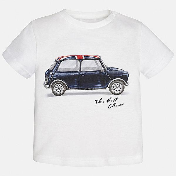Футболка для мальчика MayoralФутболки, топы<br>Характеристики товара:<br><br>• цвет: белый<br>• состав: 100% хлопок<br>• круглый горловой вырез<br>• декорирована принтом<br>• короткие рукава<br>• мягкая отделка горловины<br>• страна бренда: Испания<br><br>Красивая хлопковая футболка с принтом поможет разнообразить гардероб мальчика. Она отлично сочетается с брюками, шортами, джинсами. Универсальный крой и цвет позволяет подобрать к вещи низ разных расцветок. Практичное и стильное изделие! Хорошо смотрится и комфортно сидит на детях. В составе материала - только натуральный хлопок, гипоаллергенный, приятный на ощупь, дышащий. <br><br>Одежда, обувь и аксессуары от испанского бренда Mayoral полюбились детям и взрослым по всему миру. Модели этой марки - стильные и удобные. Для их производства используются только безопасные, качественные материалы и фурнитура. Порадуйте ребенка модными и красивыми вещами от Mayoral! <br><br>Футболку для мальчика от испанского бренда Mayoral (Майорал) можно купить в нашем интернет-магазине.<br><br>Ширина мм: 199<br>Глубина мм: 10<br>Высота мм: 161<br>Вес г: 151<br>Цвет: белый<br>Возраст от месяцев: 12<br>Возраст до месяцев: 15<br>Пол: Мужской<br>Возраст: Детский<br>Размер: 80,92,86<br>SKU: 5278489