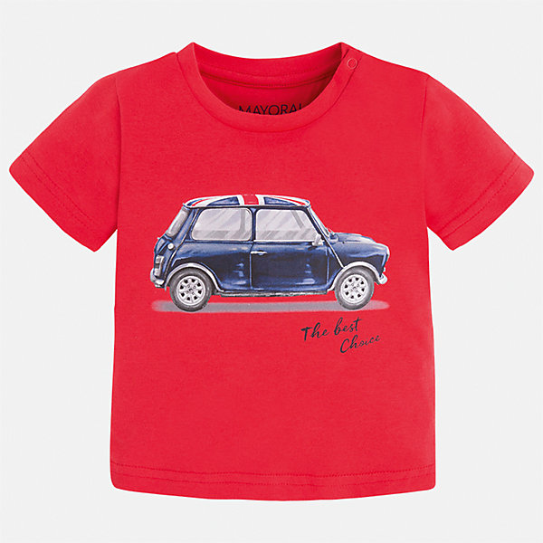 Футболка для мальчика MayoralФутболки, поло и топы<br>Характеристики товара:<br><br>• цвет: красный<br>• состав: 100% хлопок<br>• круглый горловой вырез<br>• декорирована принтом<br>• короткие рукава<br>• мягкая отделка горловины<br>• страна бренда: Испания<br><br>Красивая хлопковая футболка с принтом поможет разнообразить гардероб мальчика. Она отлично сочетается с брюками, шортами, джинсами. Универсальный крой и цвет позволяет подобрать к вещи низ разных расцветок. Практичное и стильное изделие! Хорошо смотрится и комфортно сидит на детях. В составе материала - только натуральный хлопок, гипоаллергенный, приятный на ощупь, дышащий. <br><br>Одежда, обувь и аксессуары от испанского бренда Mayoral полюбились детям и взрослым по всему миру. Модели этой марки - стильные и удобные. Для их производства используются только безопасные, качественные материалы и фурнитура. Порадуйте ребенка модными и красивыми вещами от Mayoral! <br><br>Футболку для мальчика от испанского бренда Mayoral (Майорал) можно купить в нашем интернет-магазине.<br><br>Ширина мм: 199<br>Глубина мм: 10<br>Высота мм: 161<br>Вес г: 151<br>Цвет: розовый<br>Возраст от месяцев: 12<br>Возраст до месяцев: 18<br>Пол: Мужской<br>Возраст: Детский<br>Размер: 86,80,92<br>SKU: 5278497