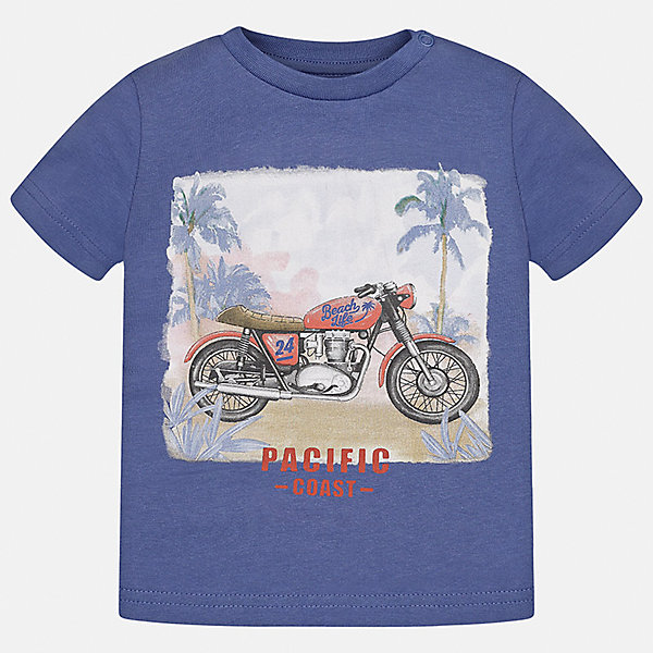 Футболка для мальчика MayoralФутболки, поло и топы<br>Характеристики товара:<br><br>• цвет: синий<br>• состав: 100% хлопок<br>• круглый горловой вырез<br>• декорирована принтом<br>• короткие рукава<br>• мягкая отделка горловины<br>• страна бренда: Испания<br><br>Красивая хлопковая футболка с принтом поможет разнообразить гардероб мальчика. Она отлично сочетается с брюками, шортами, джинсами. Универсальный крой и цвет позволяет подобрать к вещи низ разных расцветок. Практичное и стильное изделие! Хорошо смотрится и комфортно сидит на детях. В составе материала - только натуральный хлопок, гипоаллергенный, приятный на ощупь, дышащий. <br><br>Одежда, обувь и аксессуары от испанского бренда Mayoral полюбились детям и взрослым по всему миру. Модели этой марки - стильные и удобные. Для их производства используются только безопасные, качественные материалы и фурнитура. Порадуйте ребенка модными и красивыми вещами от Mayoral! <br><br>Футболку для мальчика от испанского бренда Mayoral (Майорал) можно купить в нашем интернет-магазине.<br>Ширина мм: 199; Глубина мм: 10; Высота мм: 161; Вес г: 151; Цвет: лиловый; Возраст от месяцев: 18; Возраст до месяцев: 24; Пол: Мужской; Возраст: Детский; Размер: 92,80,86; SKU: 5278509;