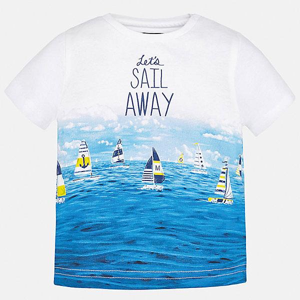Футболка для мальчика MayoralФутболки, топы<br>Характеристики товара:<br><br>• цвет: бело-голубой<br>• состав: 100% хлопок<br>• круглый горловой вырез<br>• декорирована принтом<br>• короткие рукава<br>• мягкая отделка горловины<br>• страна бренда: Испания<br><br>Красивая хлопковая футболка с принтом поможет разнообразить гардероб мальчика. Она отлично сочетается с брюками, шортами, джинсами. Универсальный крой и цвет позволяет подобрать к вещи низ разных расцветок. Практичное и стильное изделие! Хорошо смотрится и комфортно сидит на детях. В составе материала - только натуральный хлопок, гипоаллергенный, приятный на ощупь, дышащий. <br><br>Одежда, обувь и аксессуары от испанского бренда Mayoral полюбились детям и взрослым по всему миру. Модели этой марки - стильные и удобные. Для их производства используются только безопасные, качественные материалы и фурнитура. Порадуйте ребенка модными и красивыми вещами от Mayoral! <br><br>Футболку для мальчика от испанского бренда Mayoral (Майорал) можно купить в нашем интернет-магазине.<br><br>Ширина мм: 199<br>Глубина мм: 10<br>Высота мм: 161<br>Вес г: 151<br>Цвет: голубой<br>Возраст от месяцев: 18<br>Возраст до месяцев: 24<br>Пол: Мужской<br>Возраст: Детский<br>Размер: 92,80,86<br>SKU: 5278513