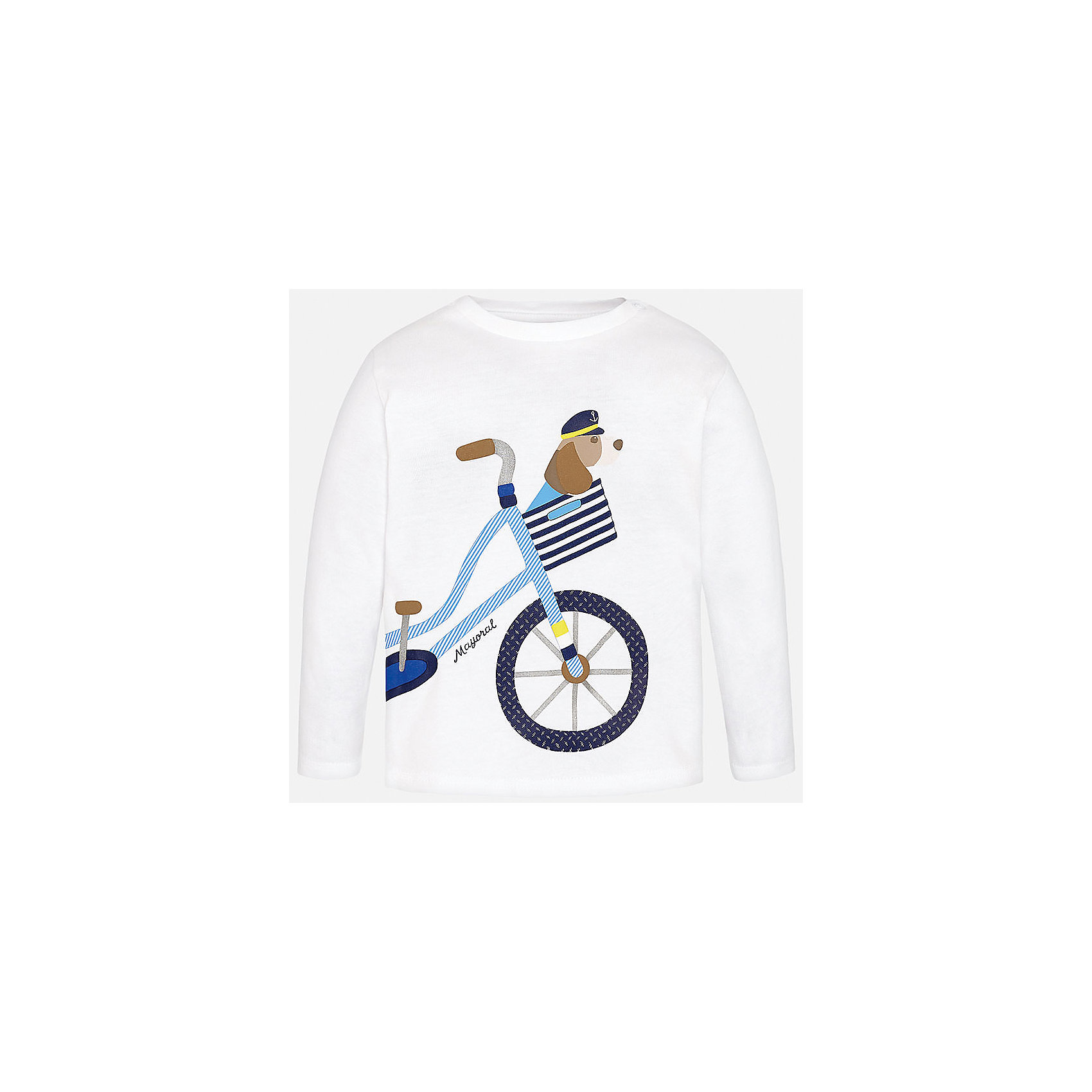 Футболка с длинным рукавом для мальчика MayoralХарактеристики товара:<br><br>• цвет: белый<br>• состав: 100% хлопок<br>• округлый горловой вырез<br>• декорирована принтом<br>• длинные рукава<br>• мягкая отделка горловины<br>• страна бренда: Испания<br><br>Красивая хлопковая футболка с принтом поможет разнообразить гардероб мальчика. Она отлично сочетается с брюками, шортами, джинсами. Универсальный крой и цвет позволяет подобрать к вещи низ разных расцветок. Практичное и стильное изделие! Хорошо смотрится и комфортно сидит на детях. В составе материала - только натуральный хлопок, гипоаллергенный, приятный на ощупь, дышащий. <br><br>Одежда, обувь и аксессуары от испанского бренда Mayoral полюбились детям и взрослым по всему миру. Модели этой марки - стильные и удобные. Для их производства используются только безопасные, качественные материалы и фурнитура. Порадуйте ребенка модными и красивыми вещами от Mayoral! <br><br>Футболку с длинным рукавом для мальчика от испанского бренда Mayoral (Майорал) можно купить в нашем интернет-магазине.<br><br>Ширина мм: 230<br>Глубина мм: 40<br>Высота мм: 220<br>Вес г: 250<br>Цвет: белый<br>Возраст от месяцев: 12<br>Возраст до месяцев: 15<br>Пол: Мужской<br>Возраст: Детский<br>Размер: 80,92,86<br>SKU: 5278517