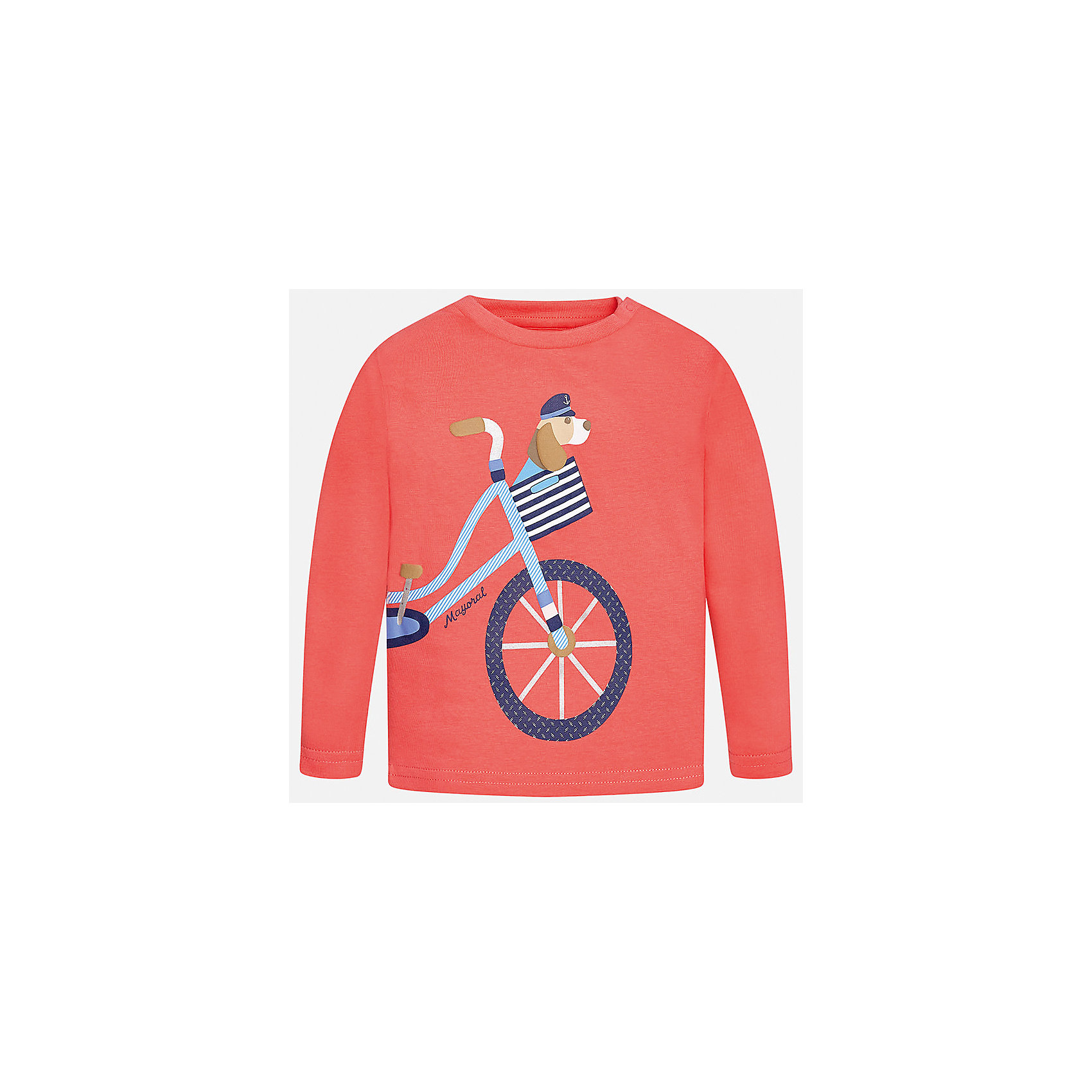 Футболка с длинным рукавом для мальчика MayoralФутболки с длинным рукавом<br>Характеристики товара:<br><br>• цвет: оранжевый<br>• состав: 100% хлопок<br>• округлый горловой вырез<br>• декорирована принтом<br>• длинные рукава<br>• мягкая отделка горловины<br>• страна бренда: Испания<br><br>Красивая хлопковая футболка с принтом поможет разнообразить гардероб мальчика. Она отлично сочетается с брюками, шортами, джинсами. Универсальный крой и цвет позволяет подобрать к вещи низ разных расцветок. Практичное и стильное изделие! Хорошо смотрится и комфортно сидит на детях. В составе материала - только натуральный хлопок, гипоаллергенный, приятный на ощупь, дышащий. <br><br>Одежда, обувь и аксессуары от испанского бренда Mayoral полюбились детям и взрослым по всему миру. Модели этой марки - стильные и удобные. Для их производства используются только безопасные, качественные материалы и фурнитура. Порадуйте ребенка модными и красивыми вещами от Mayoral! <br><br>Футболку с длинным рукавом для мальчика от испанского бренда Mayoral (Майорал) можно купить в нашем интернет-магазине.<br><br>Ширина мм: 230<br>Глубина мм: 40<br>Высота мм: 220<br>Вес г: 250<br>Цвет: розовый<br>Возраст от месяцев: 12<br>Возраст до месяцев: 15<br>Пол: Мужской<br>Возраст: Детский<br>Размер: 80,86,92<br>SKU: 5278521