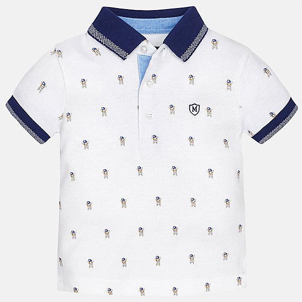 Футболка-поло для мальчика MayoralФутболки, поло и топы<br>Характеристики товара:<br><br>• цвет: белый<br>• состав: 100% хлопок<br>• отложной воротник<br>• короткие рукава<br>• застежка: пуговицы<br>• вышивка на груди<br>• страна бренда: Испания<br><br>Удобная и модная футболка-поло для мальчика может стать базовой вещью в гардеробе ребенка. Она отлично сочетается с брюками, шортами, джинсами и т.д. Универсальный крой и цвет позволяет подобрать к вещи низ разных расцветок. Практичное и стильное изделие! В составе материала - только натуральный хлопок, гипоаллергенный, приятный на ощупь, дышащий.<br><br>Одежда, обувь и аксессуары от испанского бренда Mayoral полюбились детям и взрослым по всему миру. Модели этой марки - стильные и удобные. Для их производства используются только безопасные, качественные материалы и фурнитура. Порадуйте ребенка модными и красивыми вещами от Mayoral! <br><br>Футболку-поло для мальчика от испанского бренда Mayoral (Майорал) можно купить в нашем интернет-магазине.<br>Ширина мм: 230; Глубина мм: 40; Высота мм: 220; Вес г: 250; Цвет: белый; Возраст от месяцев: 6; Возраст до месяцев: 9; Пол: Мужской; Возраст: Детский; Размер: 74,86,80,92; SKU: 5278529;