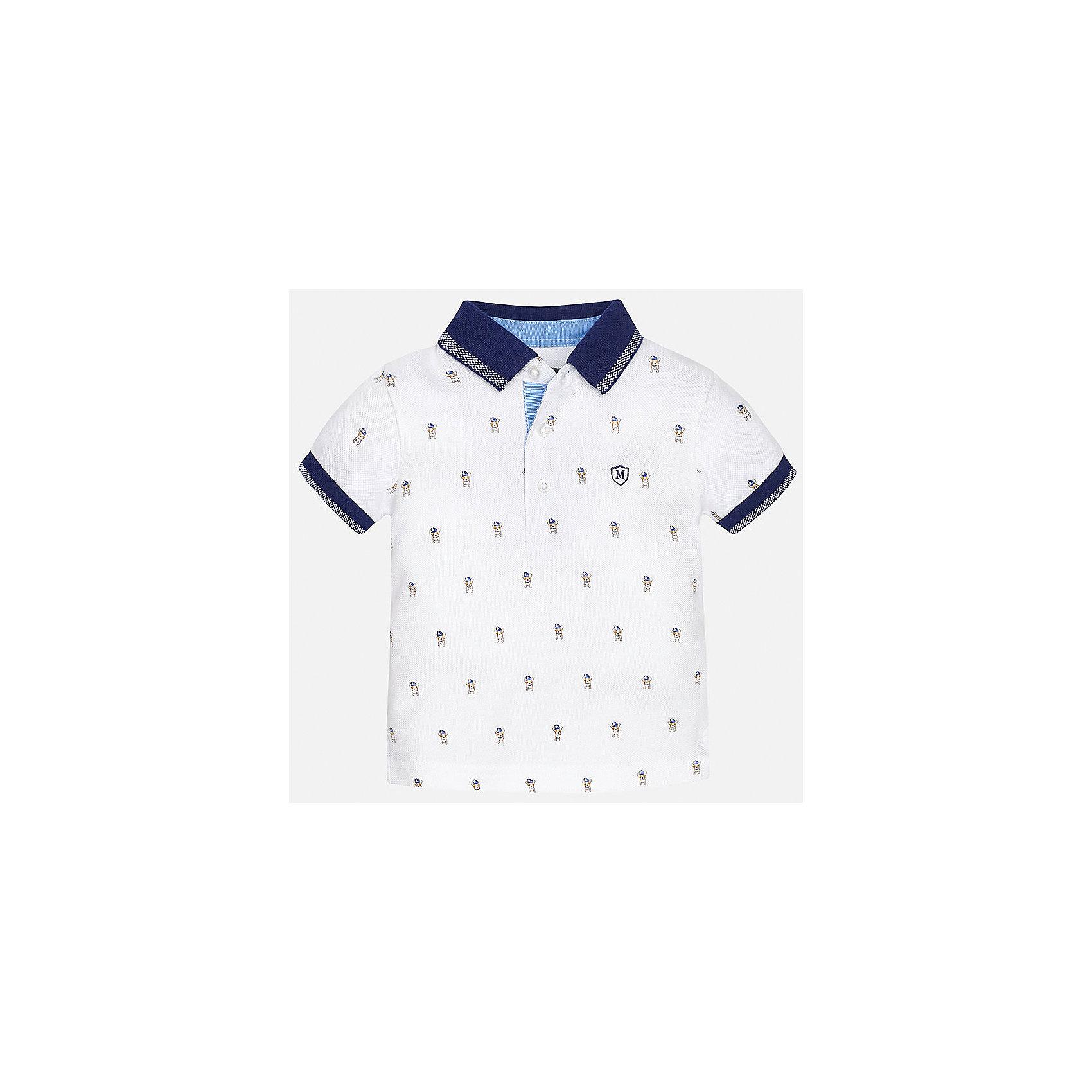 Футболка-поло для мальчика MayoralФутболки, топы<br>Характеристики товара:<br><br>• цвет: белый<br>• состав: 100% хлопок<br>• отложной воротник<br>• короткие рукава<br>• застежка: пуговицы<br>• вышивка на груди<br>• страна бренда: Испания<br><br>Удобная и модная футболка-поло для мальчика может стать базовой вещью в гардеробе ребенка. Она отлично сочетается с брюками, шортами, джинсами и т.д. Универсальный крой и цвет позволяет подобрать к вещи низ разных расцветок. Практичное и стильное изделие! В составе материала - только натуральный хлопок, гипоаллергенный, приятный на ощупь, дышащий.<br><br>Одежда, обувь и аксессуары от испанского бренда Mayoral полюбились детям и взрослым по всему миру. Модели этой марки - стильные и удобные. Для их производства используются только безопасные, качественные материалы и фурнитура. Порадуйте ребенка модными и красивыми вещами от Mayoral! <br><br>Футболку-поло для мальчика от испанского бренда Mayoral (Майорал) можно купить в нашем интернет-магазине.<br><br>Ширина мм: 230<br>Глубина мм: 40<br>Высота мм: 220<br>Вес г: 250<br>Цвет: белый<br>Возраст от месяцев: 6<br>Возраст до месяцев: 9<br>Пол: Мужской<br>Возраст: Детский<br>Размер: 74,92,80,86<br>SKU: 5278529