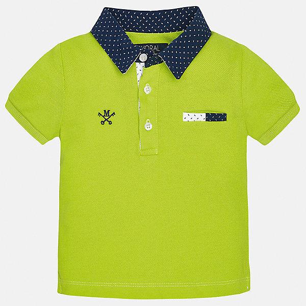 Футболка-поло для мальчика MayoralФутболки, поло и топы<br>Характеристики товара:<br><br>• цвет: зеленый<br>• состав: 100% хлопок<br>• отложной воротник<br>• короткие рукава<br>• застежка: пуговицы<br>• вышивка и карман на груди<br>• страна бренда: Испания<br><br>Удобная и модная рубашка-поло для мальчика может стать базовой вещью в гардеробе ребенка. Она отлично сочетается с брюками, шортами, джинсами и т.д. Универсальный крой и цвет позволяет подобрать к вещи низ разных расцветок. Практичное и стильное изделие! В составе материала - только натуральный хлопок, гипоаллергенный, приятный на ощупь, дышащий.<br><br>Одежда, обувь и аксессуары от испанского бренда Mayoral полюбились детям и взрослым по всему миру. Модели этой марки - стильные и удобные. Для их производства используются только безопасные, качественные материалы и фурнитура. Порадуйте ребенка модными и красивыми вещами от Mayoral! <br><br>Рубашку-поло для мальчика от испанского бренда Mayoral (Майорал) можно купить в нашем интернет-магазине.<br><br>Ширина мм: 199<br>Глубина мм: 10<br>Высота мм: 161<br>Вес г: 151<br>Цвет: зеленый<br>Возраст от месяцев: 12<br>Возраст до месяцев: 18<br>Пол: Мужской<br>Возраст: Детский<br>Размер: 86,80,92<br>SKU: 5278534
