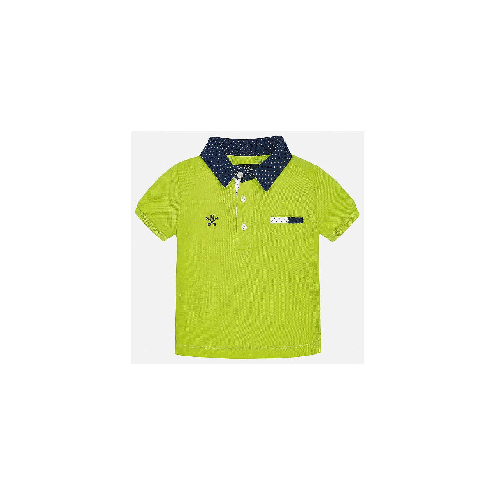 Футболка-поло для мальчика MayoralФутболки, топы<br>Характеристики товара:<br><br>• цвет: зеленый<br>• состав: 100% хлопок<br>• отложной воротник<br>• короткие рукава<br>• застежка: пуговицы<br>• вышивка и карман на груди<br>• страна бренда: Испания<br><br>Удобная и модная рубашка-поло для мальчика может стать базовой вещью в гардеробе ребенка. Она отлично сочетается с брюками, шортами, джинсами и т.д. Универсальный крой и цвет позволяет подобрать к вещи низ разных расцветок. Практичное и стильное изделие! В составе материала - только натуральный хлопок, гипоаллергенный, приятный на ощупь, дышащий.<br><br>Одежда, обувь и аксессуары от испанского бренда Mayoral полюбились детям и взрослым по всему миру. Модели этой марки - стильные и удобные. Для их производства используются только безопасные, качественные материалы и фурнитура. Порадуйте ребенка модными и красивыми вещами от Mayoral! <br><br>Рубашку-поло для мальчика от испанского бренда Mayoral (Майорал) можно купить в нашем интернет-магазине.<br><br>Ширина мм: 199<br>Глубина мм: 10<br>Высота мм: 161<br>Вес г: 151<br>Цвет: зеленый<br>Возраст от месяцев: 12<br>Возраст до месяцев: 15<br>Пол: Мужской<br>Возраст: Детский<br>Размер: 80,92,86<br>SKU: 5278534