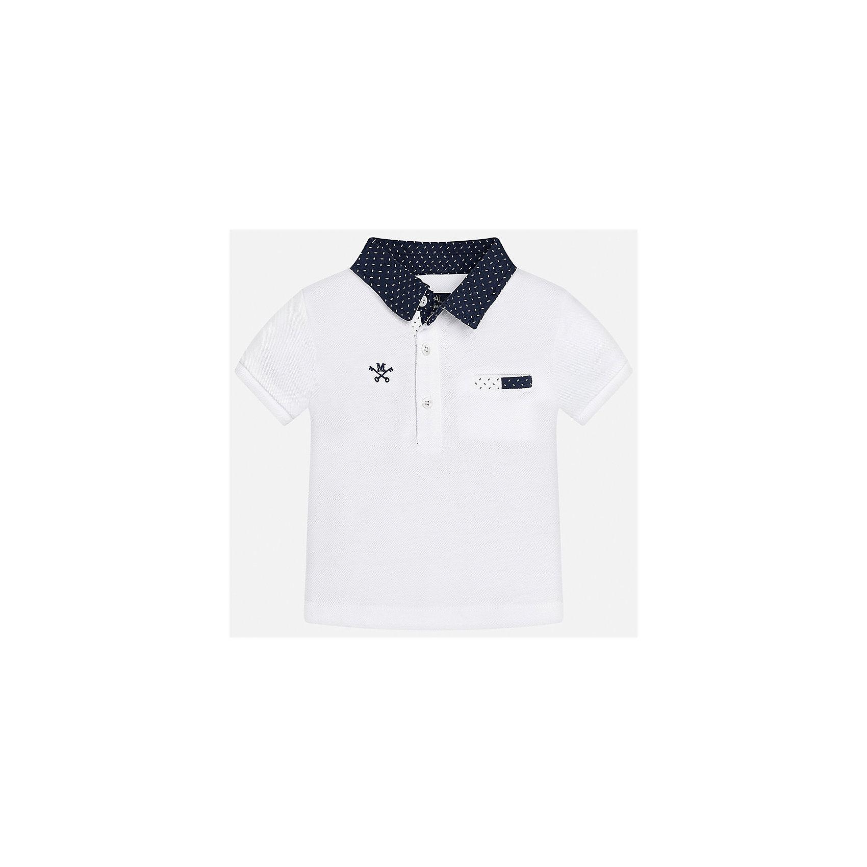 Футболка-поло для мальчика MayoralФутболки, топы<br>Характеристики товара:<br><br>• цвет: белый<br>• состав: 100% хлопок<br>• отложной воротник<br>• короткие рукава<br>• застежка: пуговицы<br>• вышивка и карман на груди<br>• страна бренда: Испания<br><br>Удобная и модная рубашка-поло для мальчика может стать базовой вещью в гардеробе ребенка. Она отлично сочетается с брюками, шортами, джинсами и т.д. Универсальный крой и цвет позволяет подобрать к вещи низ разных расцветок. Практичное и стильное изделие! В составе материала - только натуральный хлопок, гипоаллергенный, приятный на ощупь, дышащий.<br><br>Одежда, обувь и аксессуары от испанского бренда Mayoral полюбились детям и взрослым по всему миру. Модели этой марки - стильные и удобные. Для их производства используются только безопасные, качественные материалы и фурнитура. Порадуйте ребенка модными и красивыми вещами от Mayoral! <br><br>Футболку-поло для мальчика от испанского бренда Mayoral (Майорал) можно купить в нашем интернет-магазине.<br><br>Ширина мм: 199<br>Глубина мм: 10<br>Высота мм: 161<br>Вес г: 151<br>Цвет: белый<br>Возраст от месяцев: 12<br>Возраст до месяцев: 15<br>Пол: Мужской<br>Возраст: Детский<br>Размер: 80,92,86<br>SKU: 5278538