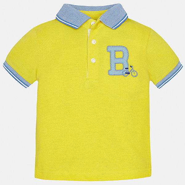Футболка-поло для мальчика MayoralФутболки, топы<br>Характеристики товара:<br><br>• цвет: желтый<br>• состав: 100% хлопок<br>• отложной воротник<br>• короткие рукава<br>• застежка: пуговицы<br>• декорирована вышивкой<br>• страна бренда: Испания<br><br>Футболка-поло для мальчика может стать базовой вещью в гардеробе ребенка. Она отлично сочетается с брюками, шортами, джинсами и т.д. Универсальный крой и цвет позволяет подобрать к вещи низ разных расцветок. Практичное и стильное изделие! В составе материала - только натуральный хлопок, гипоаллергенный, приятный на ощупь, дышащий.<br><br>Одежда, обувь и аксессуары от испанского бренда Mayoral полюбились детям и взрослым по всему миру. Модели этой марки - стильные и удобные. Для их производства используются только безопасные, качественные материалы и фурнитура. Порадуйте ребенка модными и красивыми вещами от Mayoral! <br><br>Футболку-поло для мальчика от испанского бренда Mayoral (Майорал) можно купить в нашем интернет-магазине.<br><br>Ширина мм: 230<br>Глубина мм: 40<br>Высота мм: 220<br>Вес г: 250<br>Цвет: желтый<br>Возраст от месяцев: 12<br>Возраст до месяцев: 18<br>Пол: Мужской<br>Возраст: Детский<br>Размер: 86,92,80<br>SKU: 5279410