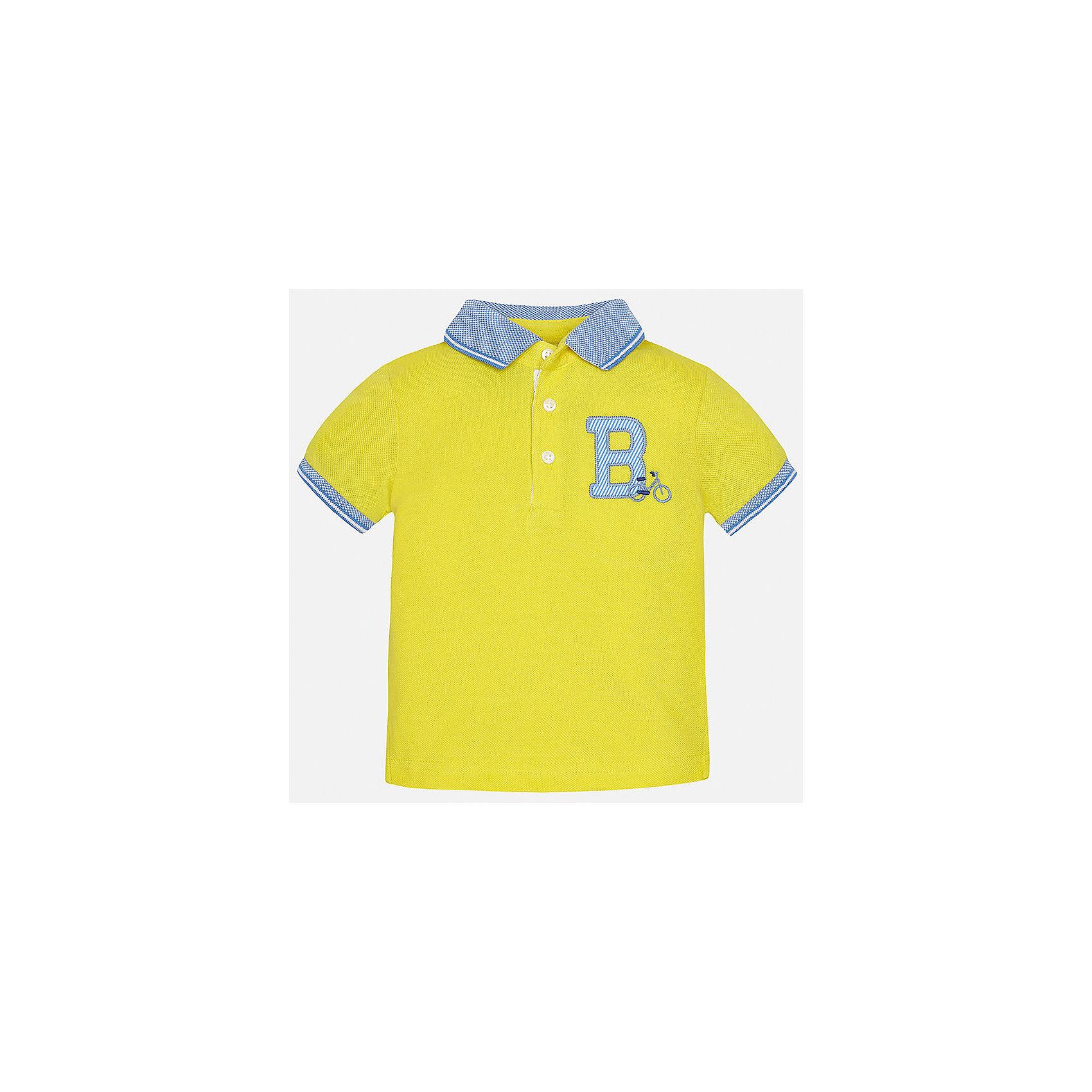 Футболка-поло для мальчика MayoralФутболки, топы<br>Характеристики товара:<br><br>• цвет: желтый<br>• состав: 100% хлопок<br>• отложной воротник<br>• короткие рукава<br>• застежка: пуговицы<br>• декорирована вышивкой<br>• страна бренда: Испания<br><br>Футболка-поло для мальчика может стать базовой вещью в гардеробе ребенка. Она отлично сочетается с брюками, шортами, джинсами и т.д. Универсальный крой и цвет позволяет подобрать к вещи низ разных расцветок. Практичное и стильное изделие! В составе материала - только натуральный хлопок, гипоаллергенный, приятный на ощупь, дышащий.<br><br>Одежда, обувь и аксессуары от испанского бренда Mayoral полюбились детям и взрослым по всему миру. Модели этой марки - стильные и удобные. Для их производства используются только безопасные, качественные материалы и фурнитура. Порадуйте ребенка модными и красивыми вещами от Mayoral! <br><br>Футболку-поло для мальчика от испанского бренда Mayoral (Майорал) можно купить в нашем интернет-магазине.<br><br>Ширина мм: 230<br>Глубина мм: 40<br>Высота мм: 220<br>Вес г: 250<br>Цвет: желтый<br>Возраст от месяцев: 12<br>Возраст до месяцев: 18<br>Пол: Мужской<br>Возраст: Детский<br>Размер: 86,80,92<br>SKU: 5279410