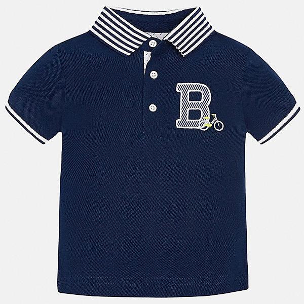 Футболка-поло для мальчика MayoralФутболки, топы<br>Характеристики товара:<br><br>• цвет: темно-синий<br>• состав: 100% хлопок<br>• отложной воротник<br>• короткие рукава<br>• застежка: пуговицы<br>• декорирована вышивкой<br>• страна бренда: Испания<br><br>Футболка-поло для мальчика может стать базовой вещью в гардеробе ребенка. Она отлично сочетается с брюками, шортами, джинсами и т.д. Универсальный крой и цвет позволяет подобрать к вещи низ разных расцветок. Практичное и стильное изделие! В составе материала - только натуральный хлопок, гипоаллергенный, приятный на ощупь, дышащий.<br><br>Одежда, обувь и аксессуары от испанского бренда Mayoral полюбились детям и взрослым по всему миру. Модели этой марки - стильные и удобные. Для их производства используются только безопасные, качественные материалы и фурнитура. Порадуйте ребенка модными и красивыми вещами от Mayoral! <br><br>Футболку-поло для мальчика от испанского бренда Mayoral (Майорал) можно купить в нашем интернет-магазине.<br>Ширина мм: 230; Глубина мм: 40; Высота мм: 220; Вес г: 250; Цвет: синий; Возраст от месяцев: 12; Возраст до месяцев: 18; Пол: Мужской; Возраст: Детский; Размер: 86,80,92; SKU: 5279414;