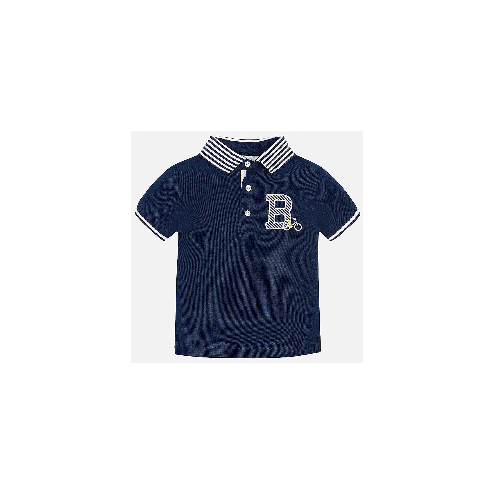 Футболка-поло для мальчика MayoralФутболки, топы<br>Характеристики товара:<br><br>• цвет: темно-синий<br>• состав: 100% хлопок<br>• отложной воротник<br>• короткие рукава<br>• застежка: пуговицы<br>• декорирована вышивкой<br>• страна бренда: Испания<br><br>Футболка-поло для мальчика может стать базовой вещью в гардеробе ребенка. Она отлично сочетается с брюками, шортами, джинсами и т.д. Универсальный крой и цвет позволяет подобрать к вещи низ разных расцветок. Практичное и стильное изделие! В составе материала - только натуральный хлопок, гипоаллергенный, приятный на ощупь, дышащий.<br><br>Одежда, обувь и аксессуары от испанского бренда Mayoral полюбились детям и взрослым по всему миру. Модели этой марки - стильные и удобные. Для их производства используются только безопасные, качественные материалы и фурнитура. Порадуйте ребенка модными и красивыми вещами от Mayoral! <br><br>Футболку-поло для мальчика от испанского бренда Mayoral (Майорал) можно купить в нашем интернет-магазине.<br><br>Ширина мм: 230<br>Глубина мм: 40<br>Высота мм: 220<br>Вес г: 250<br>Цвет: синий<br>Возраст от месяцев: 18<br>Возраст до месяцев: 24<br>Пол: Мужской<br>Возраст: Детский<br>Размер: 92,80,86<br>SKU: 5279414