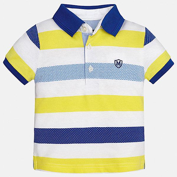 Футболка-поло для мальчика MayoralФутболки, поло и топы<br>Характеристики товара:<br><br>• цвет: белый/желтый/синий<br>• состав: 100% хлопок<br>• отложной воротник<br>• короткие рукава<br>• застежка: пуговицы<br>• декорирована вышивкой<br>• страна бренда: Испания<br><br>Модная футболка-поло для мальчика может стать базовой вещью в гардеробе ребенка. Она отлично сочетается с брюками, шортами, джинсами и т.д. Универсальный крой и цвет позволяет подобрать к вещи низ разных расцветок. Практичное и стильное изделие! В составе материала - только натуральный хлопок, гипоаллергенный, приятный на ощупь, дышащий.<br><br>Одежда, обувь и аксессуары от испанского бренда Mayoral полюбились детям и взрослым по всему миру. Модели этой марки - стильные и удобные. Для их производства используются только безопасные, качественные материалы и фурнитура. Порадуйте ребенка модными и красивыми вещами от Mayoral! <br><br>Футболку-поло для мальчика от испанского бренда Mayoral (Майорал) можно купить в нашем интернет-магазине.<br><br>Ширина мм: 230<br>Глубина мм: 40<br>Высота мм: 220<br>Вес г: 250<br>Цвет: желтый<br>Возраст от месяцев: 18<br>Возраст до месяцев: 24<br>Пол: Мужской<br>Возраст: Детский<br>Размер: 92,80,86<br>SKU: 5279418