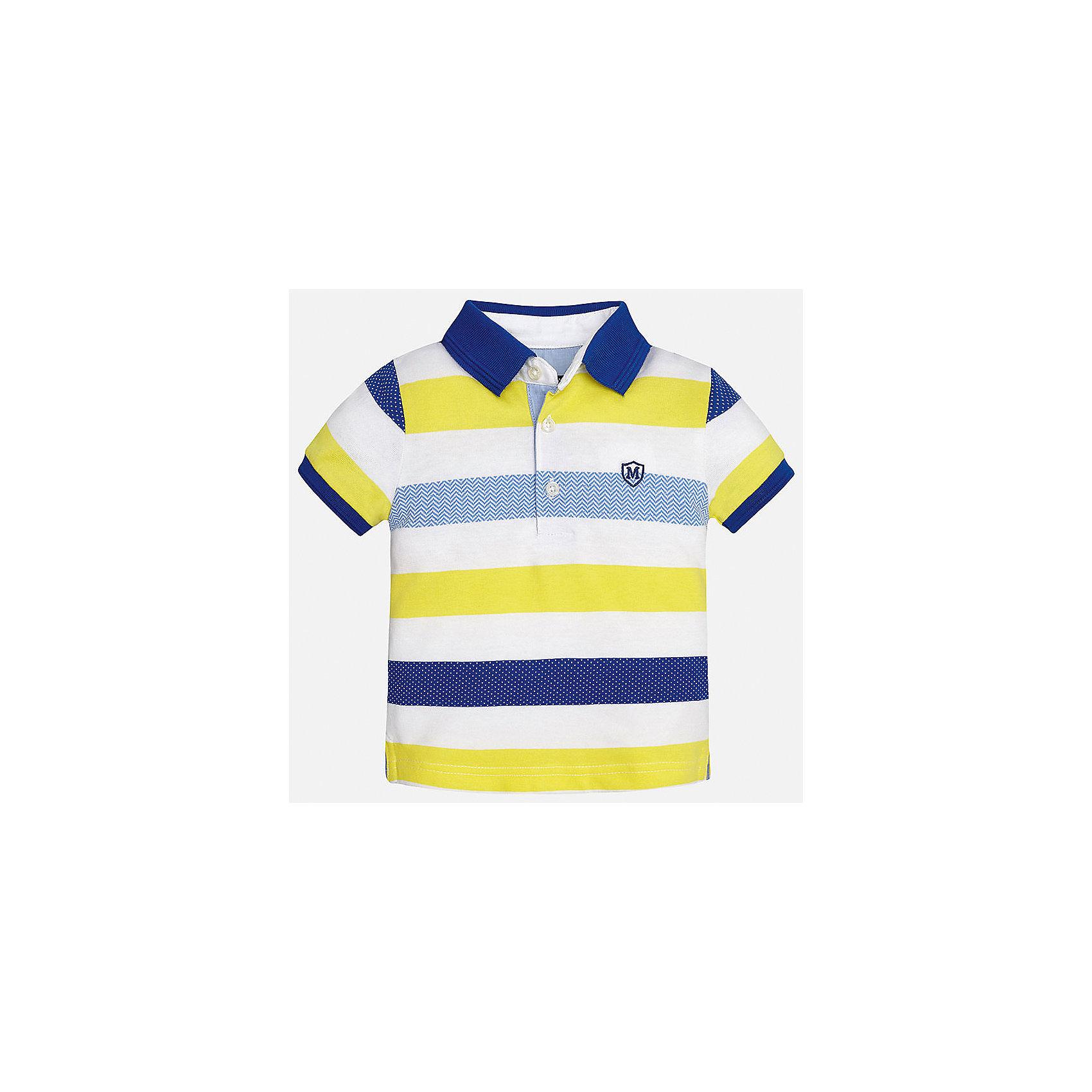 Футболка-поло для мальчика MayoralФутболки, поло и топы<br>Характеристики товара:<br><br>• цвет: белый/желтый/синий<br>• состав: 100% хлопок<br>• отложной воротник<br>• короткие рукава<br>• застежка: пуговицы<br>• декорирована вышивкой<br>• страна бренда: Испания<br><br>Модная футболка-поло для мальчика может стать базовой вещью в гардеробе ребенка. Она отлично сочетается с брюками, шортами, джинсами и т.д. Универсальный крой и цвет позволяет подобрать к вещи низ разных расцветок. Практичное и стильное изделие! В составе материала - только натуральный хлопок, гипоаллергенный, приятный на ощупь, дышащий.<br><br>Одежда, обувь и аксессуары от испанского бренда Mayoral полюбились детям и взрослым по всему миру. Модели этой марки - стильные и удобные. Для их производства используются только безопасные, качественные материалы и фурнитура. Порадуйте ребенка модными и красивыми вещами от Mayoral! <br><br>Футболку-поло для мальчика от испанского бренда Mayoral (Майорал) можно купить в нашем интернет-магазине.<br><br>Ширина мм: 230<br>Глубина мм: 40<br>Высота мм: 220<br>Вес г: 250<br>Цвет: желтый<br>Возраст от месяцев: 12<br>Возраст до месяцев: 15<br>Пол: Мужской<br>Возраст: Детский<br>Размер: 80,92,86<br>SKU: 5279418