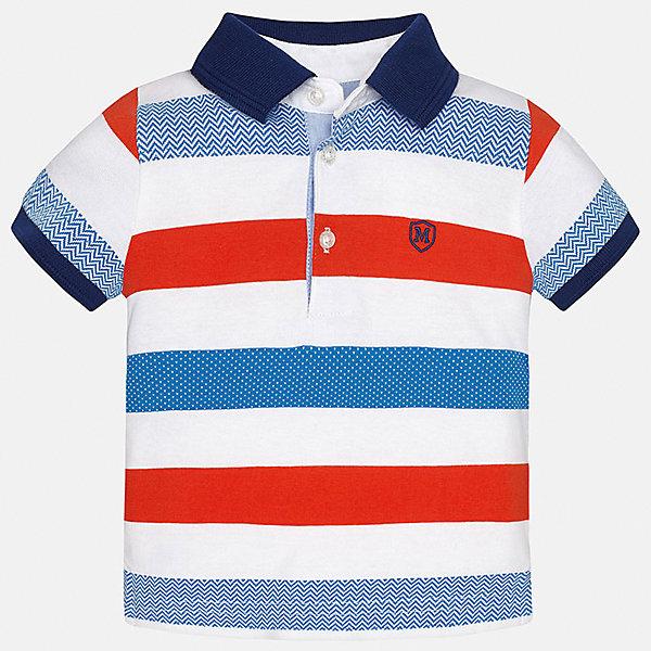 Футболка-поло для мальчика MayoralФутболки, топы<br>Характеристики товара:<br><br>• цвет: белый/красный/голубой<br>• состав: 100% хлопок<br>• отложной воротник<br>• короткие рукава<br>• застежка: пуговицы<br>• декорирована вышивкой<br>• страна бренда: Испания<br><br>Модная футболка-поло для мальчика может стать базовой вещью в гардеробе ребенка. Она отлично сочетается с брюками, шортами, джинсами и т.д. Универсальный крой и цвет позволяет подобрать к вещи низ разных расцветок. Практичное и стильное изделие! В составе материала - только натуральный хлопок, гипоаллергенный, приятный на ощупь, дышащий.<br><br>Одежда, обувь и аксессуары от испанского бренда Mayoral полюбились детям и взрослым по всему миру. Модели этой марки - стильные и удобные. Для их производства используются только безопасные, качественные материалы и фурнитура. Порадуйте ребенка модными и красивыми вещами от Mayoral! <br><br>Футболку-поло для мальчика от испанского бренда Mayoral (Майорал) можно купить в нашем интернет-магазине.<br><br>Ширина мм: 230<br>Глубина мм: 40<br>Высота мм: 220<br>Вес г: 250<br>Цвет: красный<br>Возраст от месяцев: 18<br>Возраст до месяцев: 24<br>Пол: Мужской<br>Возраст: Детский<br>Размер: 92,80,86<br>SKU: 5279422