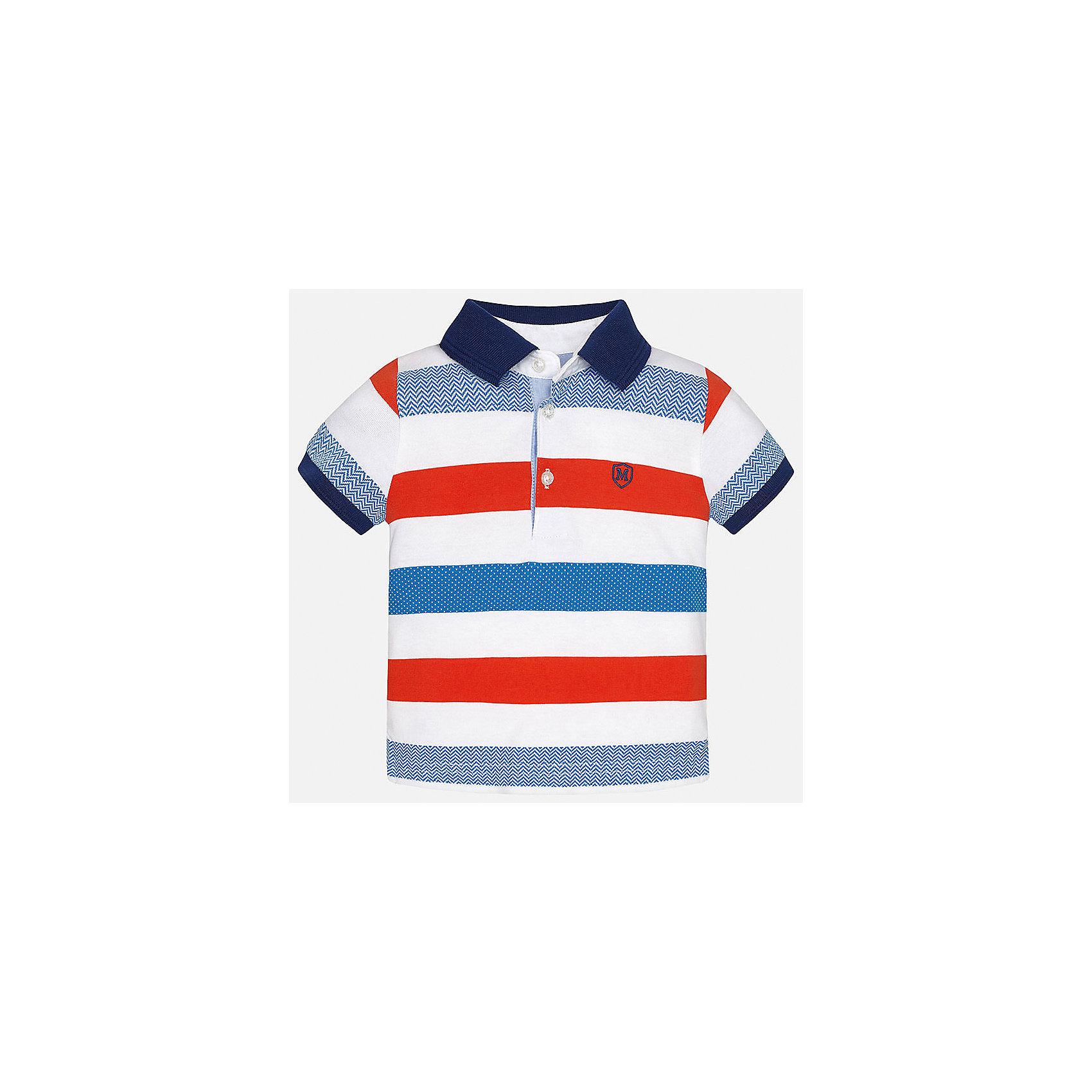 Футболка-поло для мальчика MayoralХарактеристики товара:<br><br>• цвет: белый/красный/голубой<br>• состав: 100% хлопок<br>• отложной воротник<br>• короткие рукава<br>• застежка: пуговицы<br>• декорирована вышивкой<br>• страна бренда: Испания<br><br>Модная футболка-поло для мальчика может стать базовой вещью в гардеробе ребенка. Она отлично сочетается с брюками, шортами, джинсами и т.д. Универсальный крой и цвет позволяет подобрать к вещи низ разных расцветок. Практичное и стильное изделие! В составе материала - только натуральный хлопок, гипоаллергенный, приятный на ощупь, дышащий.<br><br>Одежда, обувь и аксессуары от испанского бренда Mayoral полюбились детям и взрослым по всему миру. Модели этой марки - стильные и удобные. Для их производства используются только безопасные, качественные материалы и фурнитура. Порадуйте ребенка модными и красивыми вещами от Mayoral! <br><br>Футболку-поло для мальчика от испанского бренда Mayoral (Майорал) можно купить в нашем интернет-магазине.<br><br>Ширина мм: 230<br>Глубина мм: 40<br>Высота мм: 220<br>Вес г: 250<br>Цвет: красный<br>Возраст от месяцев: 12<br>Возраст до месяцев: 15<br>Пол: Мужской<br>Возраст: Детский<br>Размер: 80,92,86<br>SKU: 5279422