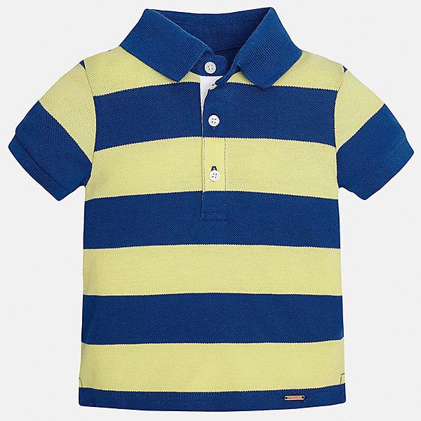 Футболка-поло для мальчика MayoralФутболки, топы<br>Характеристики товара:<br><br>• цвет: желтый/синий<br>• состав: 100% хлопок<br>• отложной воротник<br>• короткие рукава<br>• застежка: пуговицы<br>• декорирована вышивкой<br>• страна бренда: Испания<br><br>Модная футболка-поло для мальчика может стать базовой вещью в гардеробе ребенка. Она отлично сочетается с брюками, шортами, джинсами и т.д. Универсальный крой и цвет позволяет подобрать к вещи низ разных расцветок. Практичное и стильное изделие! В составе материала - только натуральный хлопок, гипоаллергенный, приятный на ощупь, дышащий.<br><br>Одежда, обувь и аксессуары от испанского бренда Mayoral полюбились детям и взрослым по всему миру. Модели этой марки - стильные и удобные. Для их производства используются только безопасные, качественные материалы и фурнитура. Порадуйте ребенка модными и красивыми вещами от Mayoral! <br><br>Футболку-поло для мальчика от испанского бренда Mayoral (Майорал) можно купить в нашем интернет-магазине.<br>Ширина мм: 230; Глубина мм: 40; Высота мм: 220; Вес г: 250; Цвет: оранжевый; Возраст от месяцев: 18; Возраст до месяцев: 24; Пол: Мужской; Возраст: Детский; Размер: 92,80,86; SKU: 5279426;