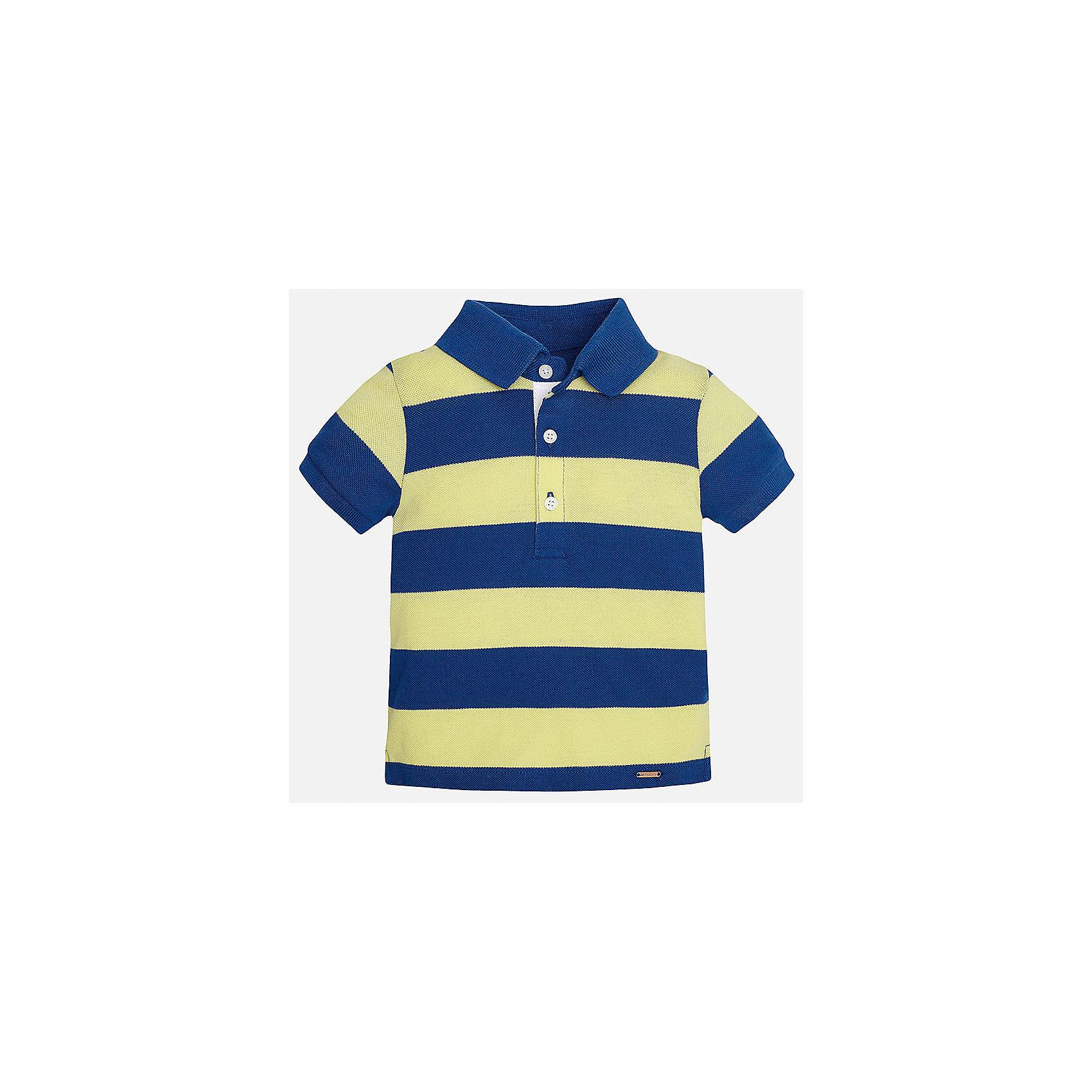 Футболка-поло для мальчика MayoralФутболки, топы<br>Характеристики товара:<br><br>• цвет: желтый/синий<br>• состав: 100% хлопок<br>• отложной воротник<br>• короткие рукава<br>• застежка: пуговицы<br>• декорирована вышивкой<br>• страна бренда: Испания<br><br>Модная футболка-поло для мальчика может стать базовой вещью в гардеробе ребенка. Она отлично сочетается с брюками, шортами, джинсами и т.д. Универсальный крой и цвет позволяет подобрать к вещи низ разных расцветок. Практичное и стильное изделие! В составе материала - только натуральный хлопок, гипоаллергенный, приятный на ощупь, дышащий.<br><br>Одежда, обувь и аксессуары от испанского бренда Mayoral полюбились детям и взрослым по всему миру. Модели этой марки - стильные и удобные. Для их производства используются только безопасные, качественные материалы и фурнитура. Порадуйте ребенка модными и красивыми вещами от Mayoral! <br><br>Футболку-поло для мальчика от испанского бренда Mayoral (Майорал) можно купить в нашем интернет-магазине.<br><br>Ширина мм: 230<br>Глубина мм: 40<br>Высота мм: 220<br>Вес г: 250<br>Цвет: оранжевый<br>Возраст от месяцев: 12<br>Возраст до месяцев: 15<br>Пол: Мужской<br>Возраст: Детский<br>Размер: 80,92,86<br>SKU: 5279426
