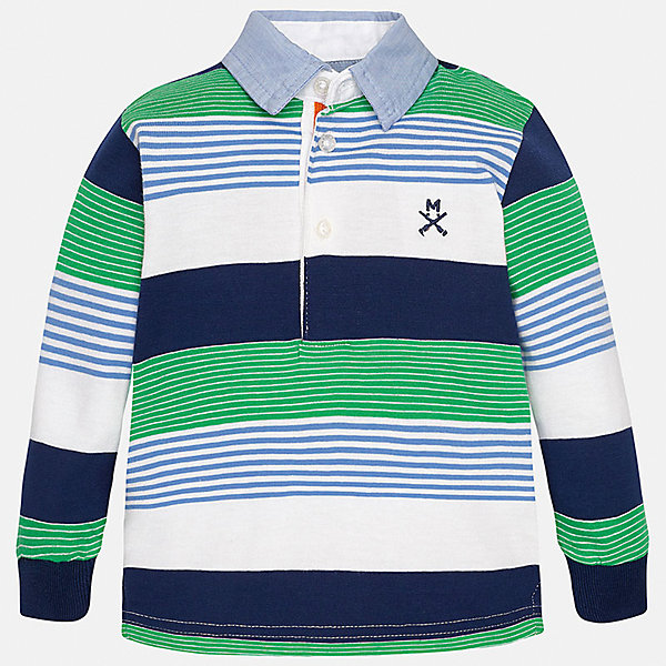 Футболка-поло с длинным рукавом для мальчика MayoralФутболки, топы<br>Характеристики товара:<br><br>• цвет: белый/синий/зеленый<br>• состав: 100% хлопок<br>• отложной воротник<br>• длинные рукава<br>• застежка: пуговицы<br>• декорирована вышивкой<br>• страна бренда: Испания<br><br>Модная рубашка-поло для мальчика может стать базовой вещью в гардеробе ребенка. Она отлично сочетается с брюками, шортами, джинсами и т.д. Универсальный крой и цвет позволяет подобрать к вещи низ разных расцветок. Практичное и стильное изделие! В составе материала - только натуральный хлопок, гипоаллергенный, приятный на ощупь, дышащий.<br><br>Одежда, обувь и аксессуары от испанского бренда Mayoral полюбились детям и взрослым по всему миру. Модели этой марки - стильные и удобные. Для их производства используются только безопасные, качественные материалы и фурнитура. Порадуйте ребенка модными и красивыми вещами от Mayoral! <br><br>Рубашку-поло для мальчика от испанского бренда Mayoral (Майорал) можно купить в нашем интернет-магазине.<br>Ширина мм: 230; Глубина мм: 40; Высота мм: 220; Вес г: 250; Цвет: зеленый; Возраст от месяцев: 18; Возраст до месяцев: 24; Пол: Мужской; Возраст: Детский; Размер: 92,80,86; SKU: 5279444;
