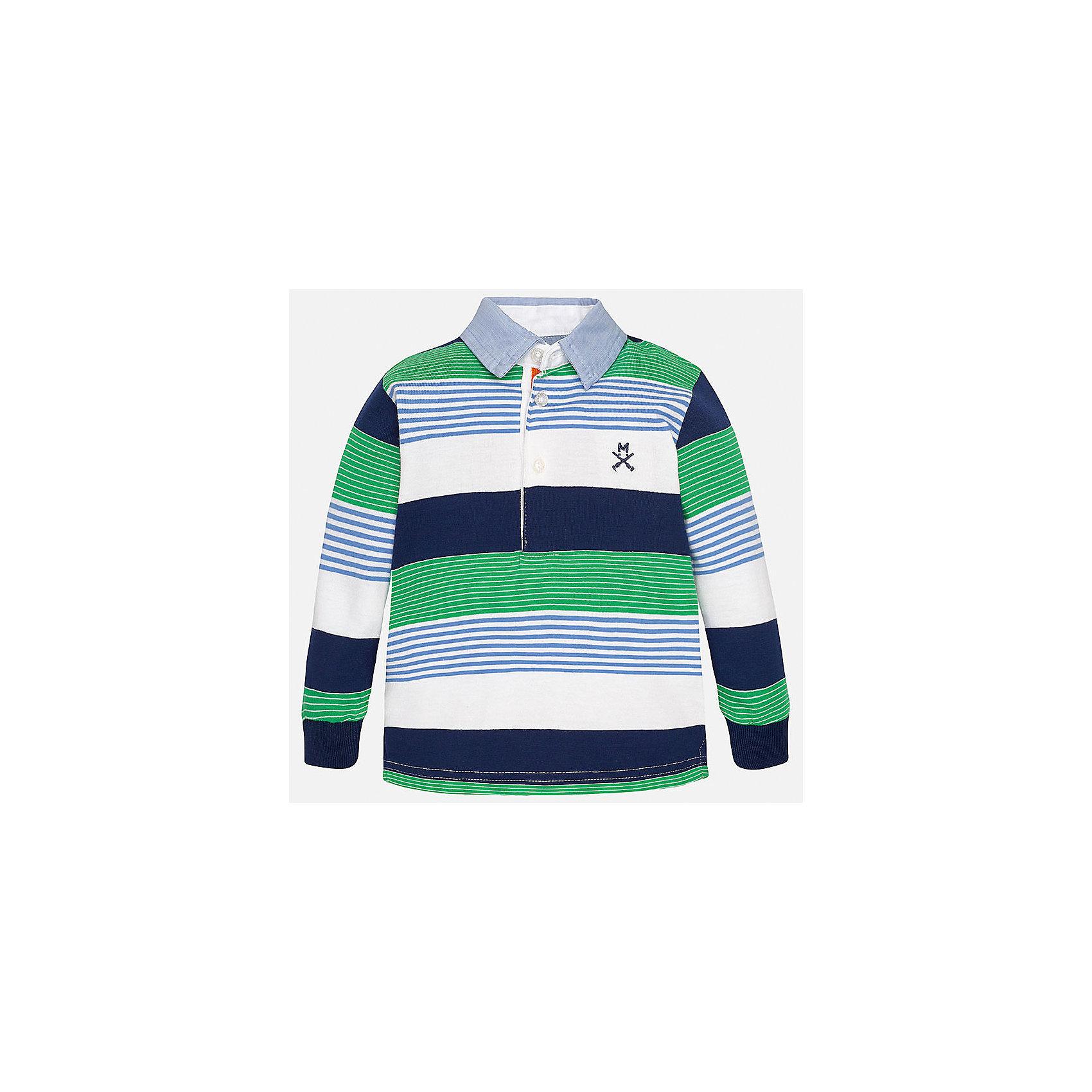 Футболка-поло с длинным рукавом для мальчика MayoralФутболки с длинным рукавом<br>Характеристики товара:<br><br>• цвет: белый/синий/зеленый<br>• состав: 100% хлопок<br>• отложной воротник<br>• длинные рукава<br>• застежка: пуговицы<br>• декорирована вышивкой<br>• страна бренда: Испания<br><br>Модная рубашка-поло для мальчика может стать базовой вещью в гардеробе ребенка. Она отлично сочетается с брюками, шортами, джинсами и т.д. Универсальный крой и цвет позволяет подобрать к вещи низ разных расцветок. Практичное и стильное изделие! В составе материала - только натуральный хлопок, гипоаллергенный, приятный на ощупь, дышащий.<br><br>Одежда, обувь и аксессуары от испанского бренда Mayoral полюбились детям и взрослым по всему миру. Модели этой марки - стильные и удобные. Для их производства используются только безопасные, качественные материалы и фурнитура. Порадуйте ребенка модными и красивыми вещами от Mayoral! <br><br>Рубашку-поло для мальчика от испанского бренда Mayoral (Майорал) можно купить в нашем интернет-магазине.<br><br>Ширина мм: 230<br>Глубина мм: 40<br>Высота мм: 220<br>Вес г: 250<br>Цвет: зеленый<br>Возраст от месяцев: 12<br>Возраст до месяцев: 15<br>Пол: Мужской<br>Возраст: Детский<br>Размер: 80,92,86<br>SKU: 5279444