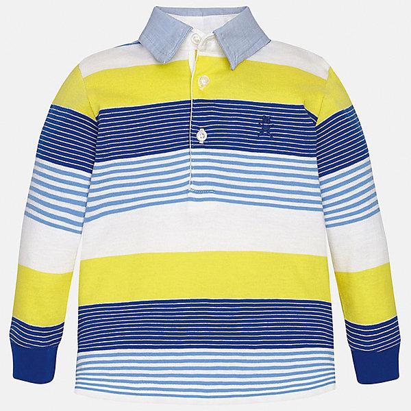 Футболка-поло с длинным рукавом для мальчика MayoralФутболки с длинным рукавом<br>Характеристики товара:<br><br>• цвет: синий/желтый/белый<br>• состав: 100% хлопок<br>• отложной воротник<br>• длинные рукава<br>• застежка: пуговицы<br>• декорирована вышивкой<br>• страна бренда: Испания<br><br>Модная рубашка-поло для мальчика может стать базовой вещью в гардеробе ребенка. Она отлично сочетается с брюками, шортами, джинсами и т.д. Универсальный крой и цвет позволяет подобрать к вещи низ разных расцветок. Практичное и стильное изделие! В составе материала - только натуральный хлопок, гипоаллергенный, приятный на ощупь, дышащий.<br><br>Одежда, обувь и аксессуары от испанского бренда Mayoral полюбились детям и взрослым по всему миру. Модели этой марки - стильные и удобные. Для их производства используются только безопасные, качественные материалы и фурнитура. Порадуйте ребенка модными и красивыми вещами от Mayoral! <br><br>Рубашку-поло для мальчика от испанского бренда Mayoral (Майорал) можно купить в нашем интернет-магазине.<br>Ширина мм: 230; Глубина мм: 40; Высота мм: 220; Вес г: 250; Цвет: голубой; Возраст от месяцев: 12; Возраст до месяцев: 15; Пол: Мужской; Возраст: Детский; Размер: 80,92,86; SKU: 5279448;