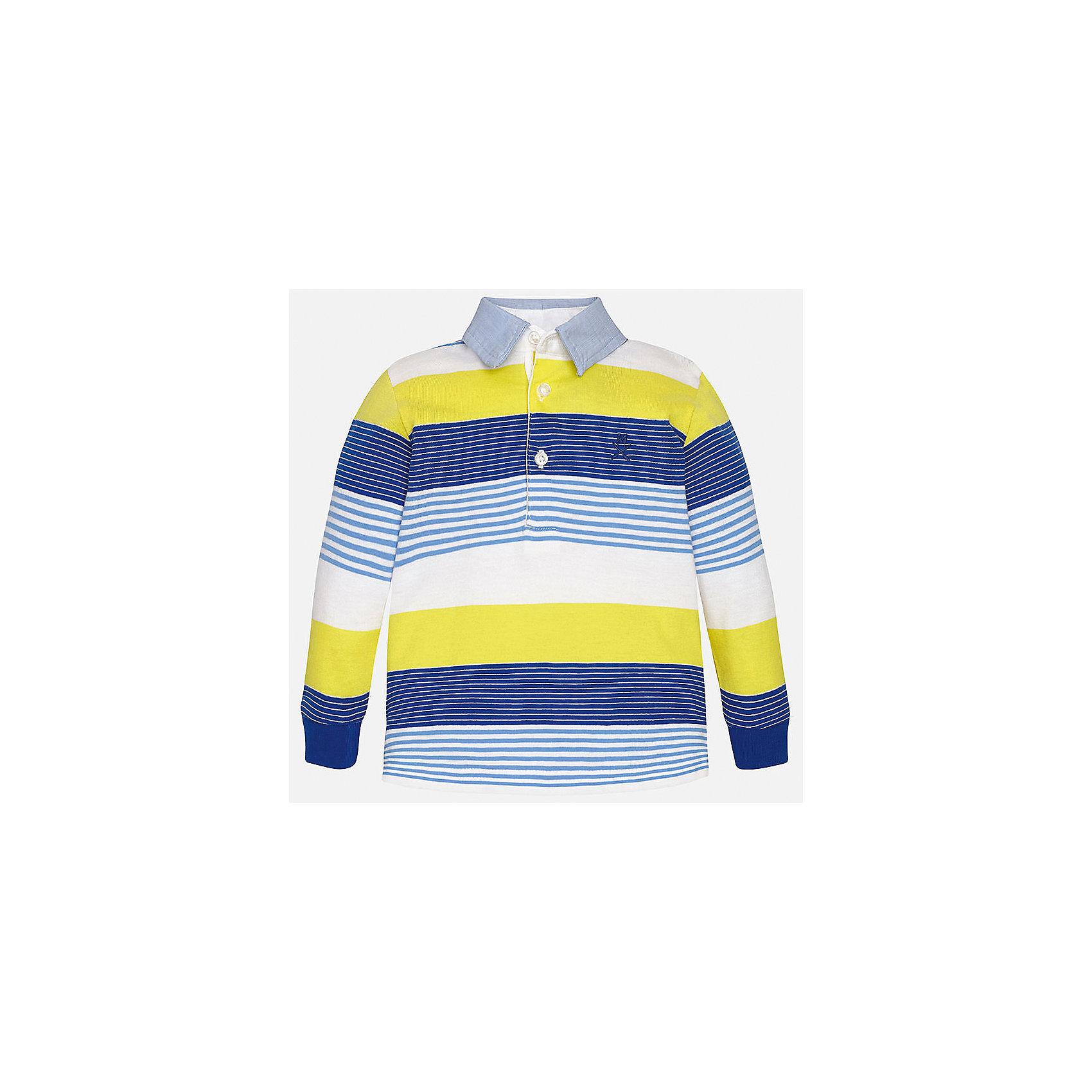 Футболка-поло с длинным рукавом для мальчика MayoralФутболки с длинным рукавом<br>Характеристики товара:<br><br>• цвет: синий/желтый/белый<br>• состав: 100% хлопок<br>• отложной воротник<br>• длинные рукава<br>• застежка: пуговицы<br>• декорирована вышивкой<br>• страна бренда: Испания<br><br>Модная рубашка-поло для мальчика может стать базовой вещью в гардеробе ребенка. Она отлично сочетается с брюками, шортами, джинсами и т.д. Универсальный крой и цвет позволяет подобрать к вещи низ разных расцветок. Практичное и стильное изделие! В составе материала - только натуральный хлопок, гипоаллергенный, приятный на ощупь, дышащий.<br><br>Одежда, обувь и аксессуары от испанского бренда Mayoral полюбились детям и взрослым по всему миру. Модели этой марки - стильные и удобные. Для их производства используются только безопасные, качественные материалы и фурнитура. Порадуйте ребенка модными и красивыми вещами от Mayoral! <br><br>Рубашку-поло для мальчика от испанского бренда Mayoral (Майорал) можно купить в нашем интернет-магазине.<br><br>Ширина мм: 230<br>Глубина мм: 40<br>Высота мм: 220<br>Вес г: 250<br>Цвет: голубой<br>Возраст от месяцев: 12<br>Возраст до месяцев: 15<br>Пол: Мужской<br>Возраст: Детский<br>Размер: 80,92,86<br>SKU: 5279448