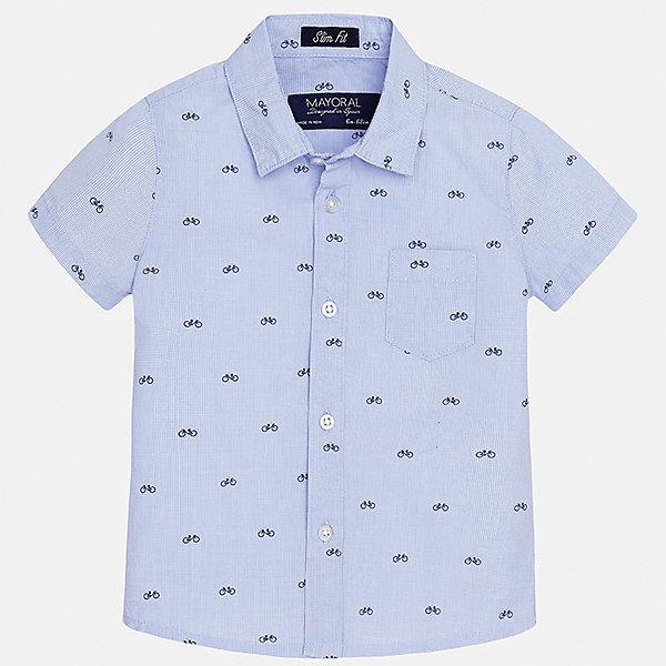 Рубашка для мальчика MayoralБлузки и рубашки<br>Характеристики товара:<br><br>• цвет: голубой<br>• состав: 100% хлопок<br>• отложной воротник<br>• короткие рукава<br>• застежка: пуговицы<br>• карман на груди<br>• страна бренда: Испания<br><br>Красивая рубашка может отлично дополнить гардероб ребенка. Она хорошо сочетается с брюками, шортами, джинсами и т.д. Универсальный крой и цвет позволяет подобрать к вещи низ разных расцветок. Практичное и стильное изделие! В составе материала - только натуральный хлопок, гипоаллергенный, приятный на ощупь, дышащий.<br><br>Одежда, обувь и аксессуары от испанского бренда Mayoral полюбились детям и взрослым по всему миру. Модели этой марки - стильные и удобные. Для их производства используются только безопасные, качественные материалы и фурнитура. Порадуйте ребенка модными и красивыми вещами от Mayoral! <br><br>Рубашку для мальчика от испанского бренда Mayoral (Майорал) можно купить в нашем интернет-магазине.<br>Ширина мм: 174; Глубина мм: 10; Высота мм: 169; Вес г: 157; Цвет: голубой; Возраст от месяцев: 12; Возраст до месяцев: 15; Пол: Мужской; Возраст: Детский; Размер: 80,92,86; SKU: 5279456;