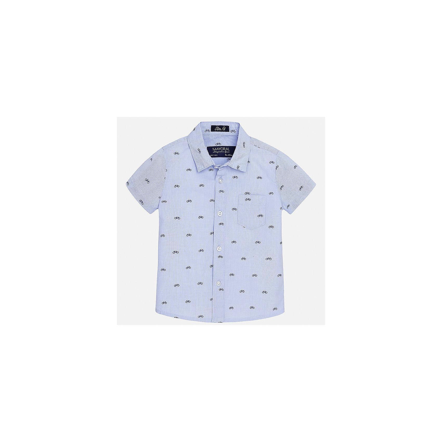 Рубашка для мальчика MayoralБлузки и рубашки<br>Характеристики товара:<br><br>• цвет: голубой<br>• состав: 100% хлопок<br>• отложной воротник<br>• короткие рукава<br>• застежка: пуговицы<br>• карман на груди<br>• страна бренда: Испания<br><br>Красивая рубашка может отлично дополнить гардероб ребенка. Она хорошо сочетается с брюками, шортами, джинсами и т.д. Универсальный крой и цвет позволяет подобрать к вещи низ разных расцветок. Практичное и стильное изделие! В составе материала - только натуральный хлопок, гипоаллергенный, приятный на ощупь, дышащий.<br><br>Одежда, обувь и аксессуары от испанского бренда Mayoral полюбились детям и взрослым по всему миру. Модели этой марки - стильные и удобные. Для их производства используются только безопасные, качественные материалы и фурнитура. Порадуйте ребенка модными и красивыми вещами от Mayoral! <br><br>Рубашку для мальчика от испанского бренда Mayoral (Майорал) можно купить в нашем интернет-магазине.<br><br>Ширина мм: 174<br>Глубина мм: 10<br>Высота мм: 169<br>Вес г: 157<br>Цвет: голубой<br>Возраст от месяцев: 12<br>Возраст до месяцев: 15<br>Пол: Мужской<br>Возраст: Детский<br>Размер: 80,92,86<br>SKU: 5279456