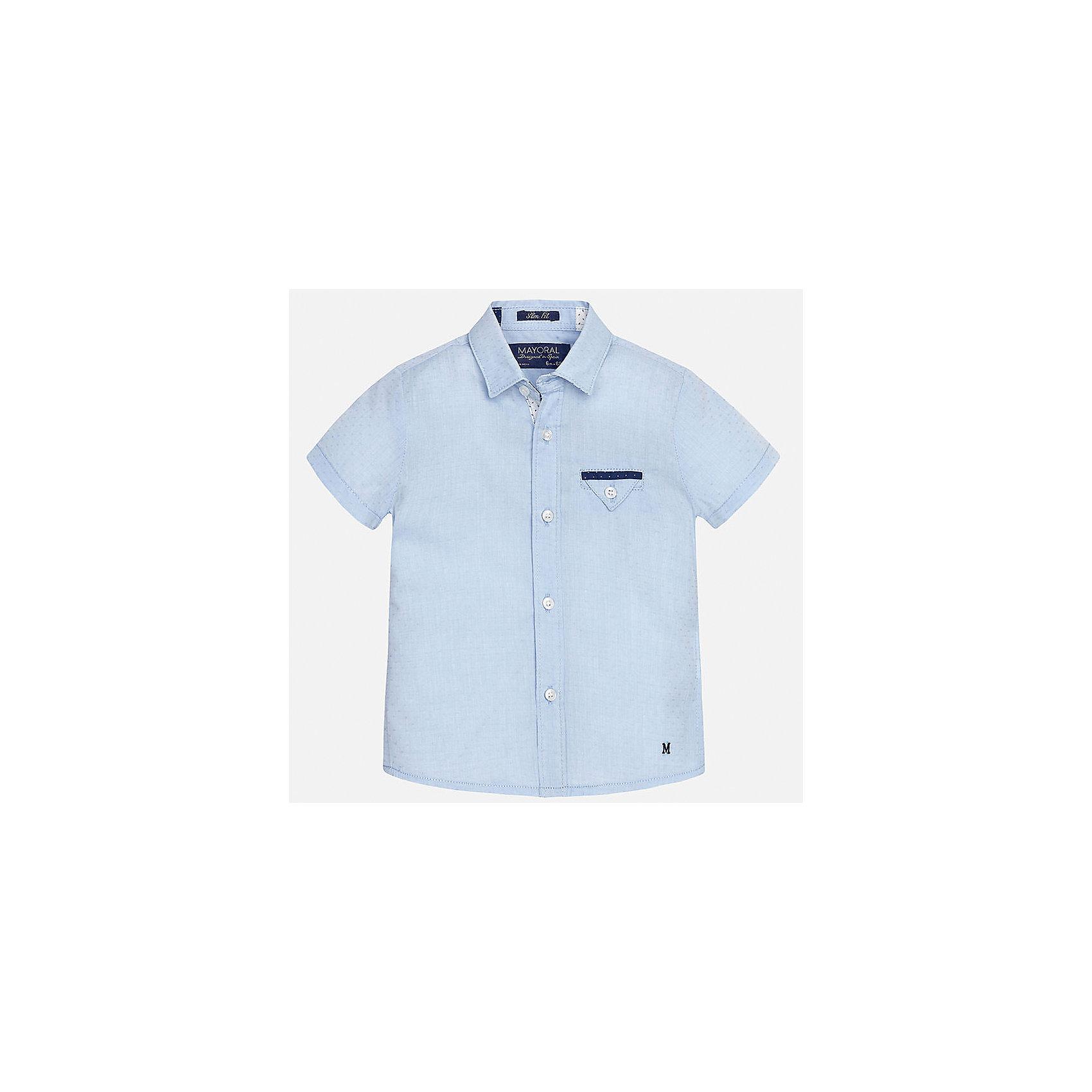 Рубашка для мальчика MayoralБлузки и рубашки<br>Характеристики товара:<br><br>• цвет: голубой<br>• состав: 100% хлопок<br>• отложной воротник<br>• короткие рукава<br>• застежка: пуговицы<br>• карман на груди<br>• страна бренда: Испания<br><br>Красивая рубашка может отлично дополнить гардероб ребенка. Она хорошо сочетается с брюками, шортами, джинсами и т.д. Универсальный крой и цвет позволяет подобрать к вещи низ разных расцветок. Практичное и стильное изделие! В составе материала - только натуральный хлопок, гипоаллергенный, приятный на ощупь, дышащий.<br><br>Одежда, обувь и аксессуары от испанского бренда Mayoral полюбились детям и взрослым по всему миру. Модели этой марки - стильные и удобные. Для их производства используются только безопасные, качественные материалы и фурнитура. Порадуйте ребенка модными и красивыми вещами от Mayoral! <br><br>Рубашку для мальчика от испанского бренда Mayoral (Майорал) можно купить в нашем интернет-магазине.<br><br>Ширина мм: 174<br>Глубина мм: 10<br>Высота мм: 169<br>Вес г: 157<br>Цвет: голубой<br>Возраст от месяцев: 12<br>Возраст до месяцев: 15<br>Пол: Мужской<br>Возраст: Детский<br>Размер: 80,92,86<br>SKU: 5279460