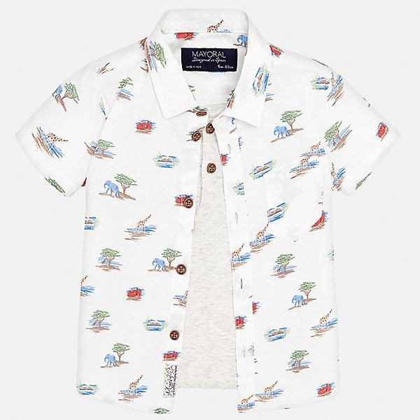 Рубашка для мальчика MayoralБлузки и рубашки<br>Характеристики товара:<br><br>• цвет: белый<br>• состав: 100% хлопок<br>• отложной воротник<br>• короткие рукава<br>• застежка: пуговицы<br>• карман на груди<br>• страна бренда: Испания<br><br>Красивая рубашка может отлично дополнить гардероб ребенка. Она хорошо сочетается с брюками, шортами, джинсами и т.д. Универсальный крой и цвет позволяет подобрать к вещи низ разных расцветок. Практичное и стильное изделие! В составе материала - только натуральный хлопок, гипоаллергенный, приятный на ощупь, дышащий.<br><br>Одежда, обувь и аксессуары от испанского бренда Mayoral полюбились детям и взрослым по всему миру. Модели этой марки - стильные и удобные. Для их производства используются только безопасные, качественные материалы и фурнитура. Порадуйте ребенка модными и красивыми вещами от Mayoral! <br><br>Рубашку для мальчика от испанского бренда Mayoral (Майорал) можно купить в нашем интернет-магазине.<br><br>Ширина мм: 174<br>Глубина мм: 10<br>Высота мм: 169<br>Вес г: 157<br>Цвет: белый<br>Возраст от месяцев: 18<br>Возраст до месяцев: 24<br>Пол: Мужской<br>Возраст: Детский<br>Размер: 92,80,86<br>SKU: 5279468