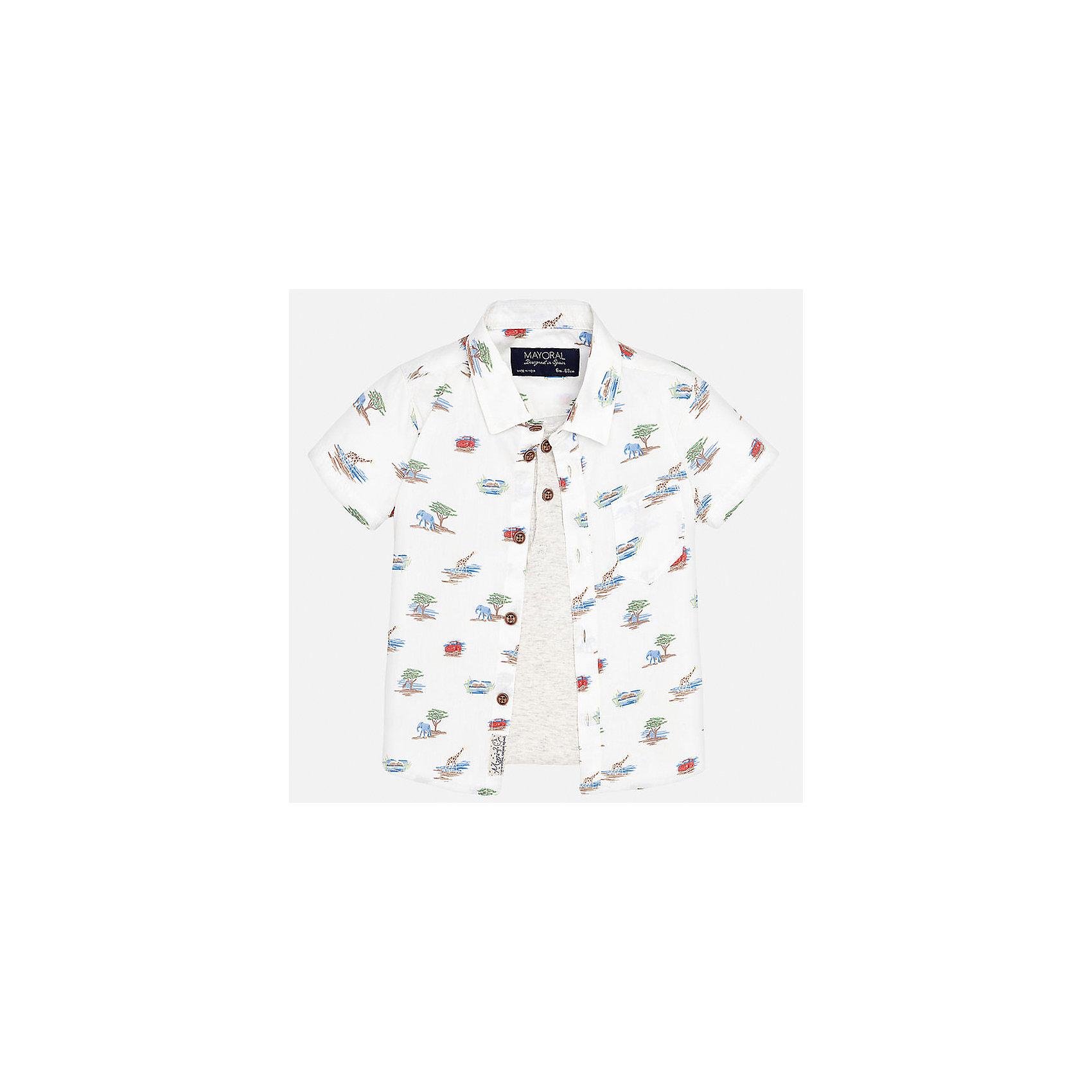 Рубашка для мальчика MayoralХарактеристики товара:<br><br>• цвет: белый<br>• состав: 100% хлопок<br>• отложной воротник<br>• короткие рукава<br>• застежка: пуговицы<br>• карман на груди<br>• страна бренда: Испания<br><br>Красивая рубашка может отлично дополнить гардероб ребенка. Она хорошо сочетается с брюками, шортами, джинсами и т.д. Универсальный крой и цвет позволяет подобрать к вещи низ разных расцветок. Практичное и стильное изделие! В составе материала - только натуральный хлопок, гипоаллергенный, приятный на ощупь, дышащий.<br><br>Одежда, обувь и аксессуары от испанского бренда Mayoral полюбились детям и взрослым по всему миру. Модели этой марки - стильные и удобные. Для их производства используются только безопасные, качественные материалы и фурнитура. Порадуйте ребенка модными и красивыми вещами от Mayoral! <br><br>Рубашку для мальчика от испанского бренда Mayoral (Майорал) можно купить в нашем интернет-магазине.<br><br>Ширина мм: 174<br>Глубина мм: 10<br>Высота мм: 169<br>Вес г: 157<br>Цвет: белый<br>Возраст от месяцев: 12<br>Возраст до месяцев: 15<br>Пол: Мужской<br>Возраст: Детский<br>Размер: 86,80,92<br>SKU: 5279468