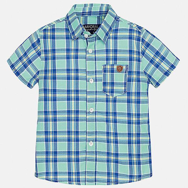 Рубашка для мальчика MayoralБлузки и рубашки<br>Характеристики товара:<br><br>• цвет: зеленый<br>• состав: 100% хлопок<br>• отложной воротник<br>• короткие рукава<br>• застежка: пуговицы<br>• карман на груди<br>• страна бренда: Испания<br><br>Красивая рубашка может отлично дополнить гардероб ребенка. Она хорошо сочетается с брюками, шортами, джинсами и т.д. Универсальный крой и цвет позволяет подобрать к вещи низ разных расцветок. Практичное и стильное изделие! В составе материала - только натуральный хлопок, гипоаллергенный, приятный на ощупь, дышащий.<br><br>Одежда, обувь и аксессуары от испанского бренда Mayoral полюбились детям и взрослым по всему миру. Модели этой марки - стильные и удобные. Для их производства используются только безопасные, качественные материалы и фурнитура. Порадуйте ребенка модными и красивыми вещами от Mayoral! <br><br>Рубашку для мальчика от испанского бренда Mayoral (Майорал) можно купить в нашем интернет-магазине.<br>Ширина мм: 174; Глубина мм: 10; Высота мм: 169; Вес г: 157; Цвет: зеленый; Возраст от месяцев: 18; Возраст до месяцев: 24; Пол: Мужской; Возраст: Детский; Размер: 92,80,86; SKU: 5279472;
