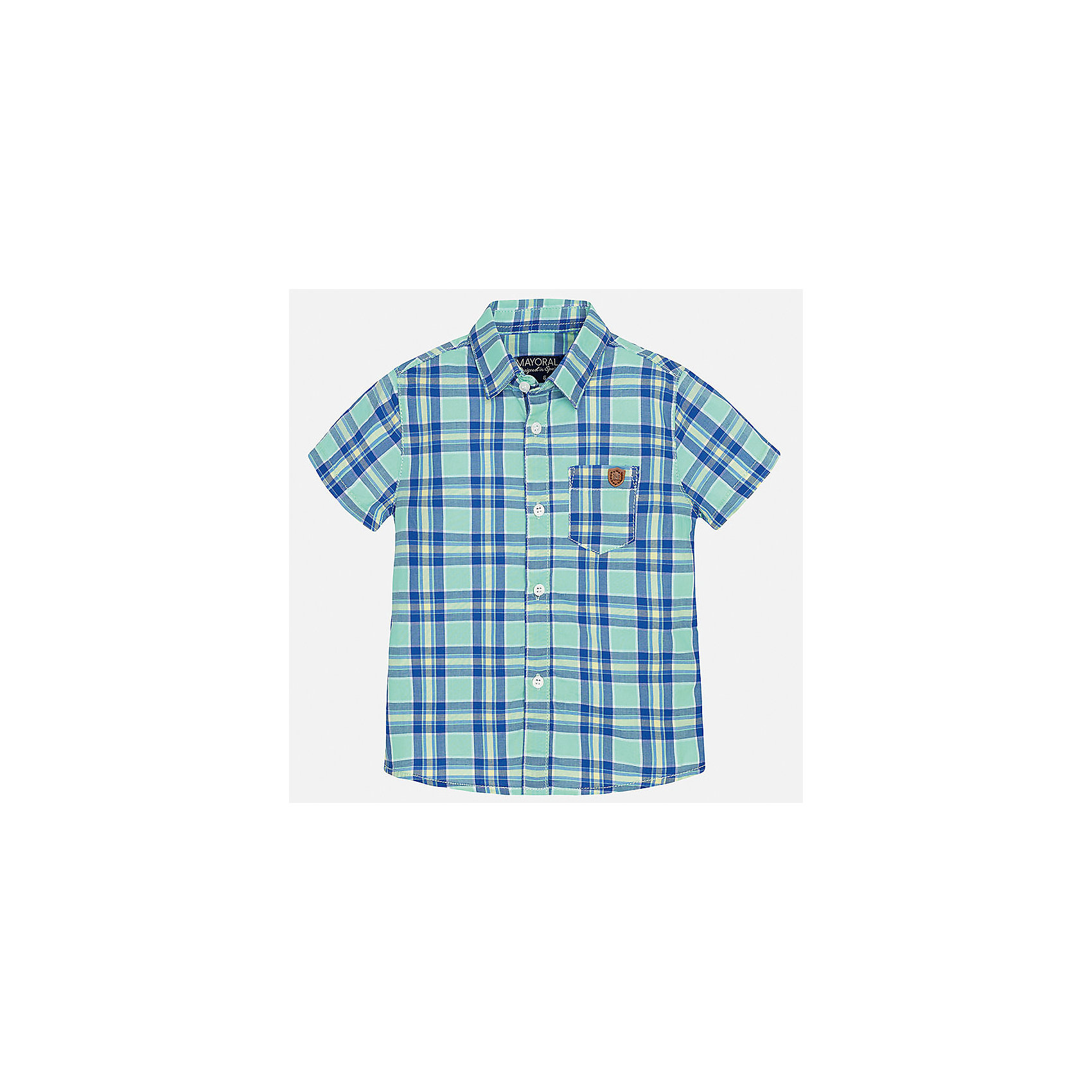 Рубашка для мальчика MayoralБлузки и рубашки<br>Характеристики товара:<br><br>• цвет: зеленый<br>• состав: 100% хлопок<br>• отложной воротник<br>• короткие рукава<br>• застежка: пуговицы<br>• карман на груди<br>• страна бренда: Испания<br><br>Красивая рубашка может отлично дополнить гардероб ребенка. Она хорошо сочетается с брюками, шортами, джинсами и т.д. Универсальный крой и цвет позволяет подобрать к вещи низ разных расцветок. Практичное и стильное изделие! В составе материала - только натуральный хлопок, гипоаллергенный, приятный на ощупь, дышащий.<br><br>Одежда, обувь и аксессуары от испанского бренда Mayoral полюбились детям и взрослым по всему миру. Модели этой марки - стильные и удобные. Для их производства используются только безопасные, качественные материалы и фурнитура. Порадуйте ребенка модными и красивыми вещами от Mayoral! <br><br>Рубашку для мальчика от испанского бренда Mayoral (Майорал) можно купить в нашем интернет-магазине.<br><br>Ширина мм: 174<br>Глубина мм: 10<br>Высота мм: 169<br>Вес г: 157<br>Цвет: зеленый<br>Возраст от месяцев: 12<br>Возраст до месяцев: 15<br>Пол: Мужской<br>Возраст: Детский<br>Размер: 80,92,86<br>SKU: 5279472