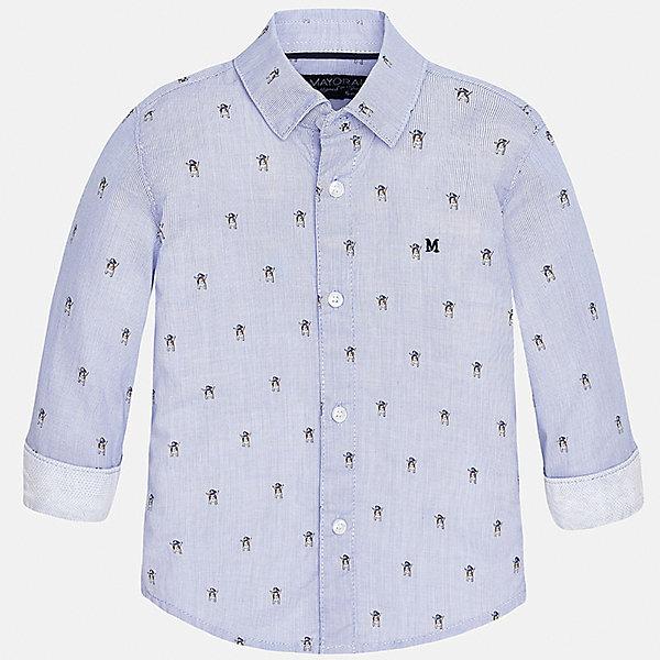 Рубашка для мальчика MayoralБлузки и рубашки<br>Характеристики товара:<br><br>• цвет: голубой<br>• состав: 100% хлопок<br>• отложной воротник<br>• длинные рукава<br>• застежка: пуговицы<br>• декорирована вышивкой<br>• страна бренда: Испания<br><br>Модная рубашка-поло для мальчика может стать базовой вещью в гардеробе ребенка. Она отлично сочетается с брюками, шортами, джинсами и т.д. Универсальный крой и цвет позволяет подобрать к вещи низ разных расцветок. Практичное и стильное изделие! В составе материала - только натуральный хлопок, гипоаллергенный, приятный на ощупь, дышащий.<br><br>Одежда, обувь и аксессуары от испанского бренда Mayoral полюбились детям и взрослым по всему миру. Модели этой марки - стильные и удобные. Для их производства используются только безопасные, качественные материалы и фурнитура. Порадуйте ребенка модными и красивыми вещами от Mayoral! <br><br>Рубашку для мальчика от испанского бренда Mayoral (Майорал) можно купить в нашем интернет-магазине.<br><br>Ширина мм: 174<br>Глубина мм: 10<br>Высота мм: 169<br>Вес г: 157<br>Цвет: голубой<br>Возраст от месяцев: 12<br>Возраст до месяцев: 18<br>Пол: Мужской<br>Возраст: Детский<br>Размер: 86,92,74,80<br>SKU: 5279476